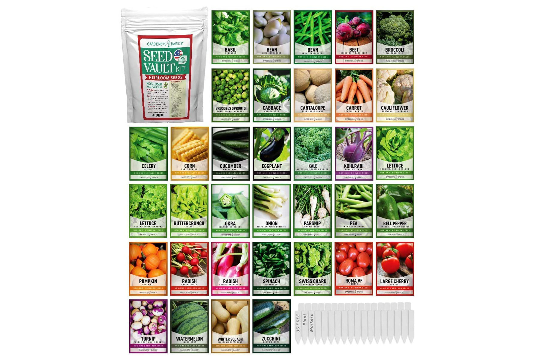 Various packets of vegetable seeds