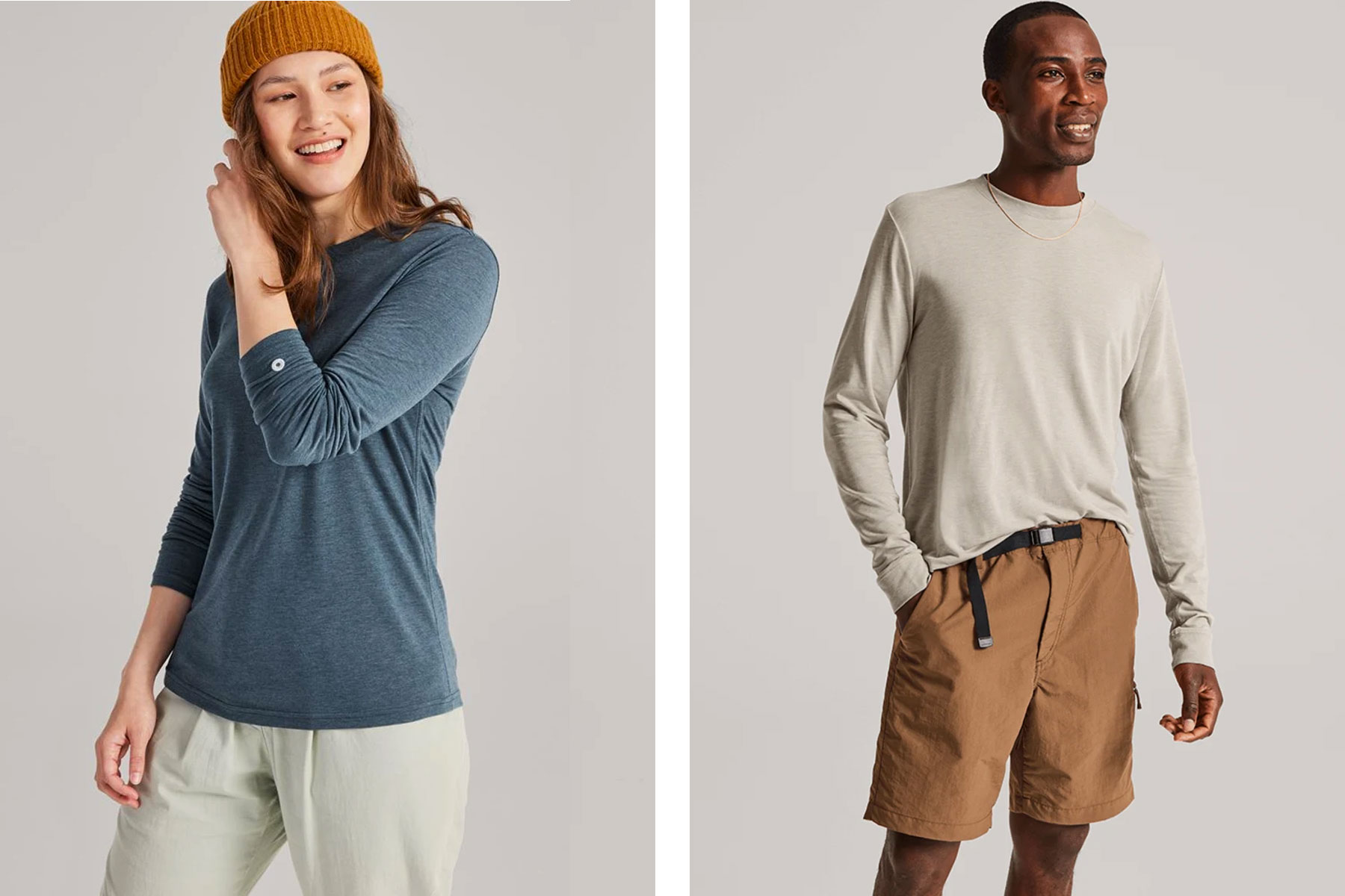 Men and women wearing long sleeve t-shirts