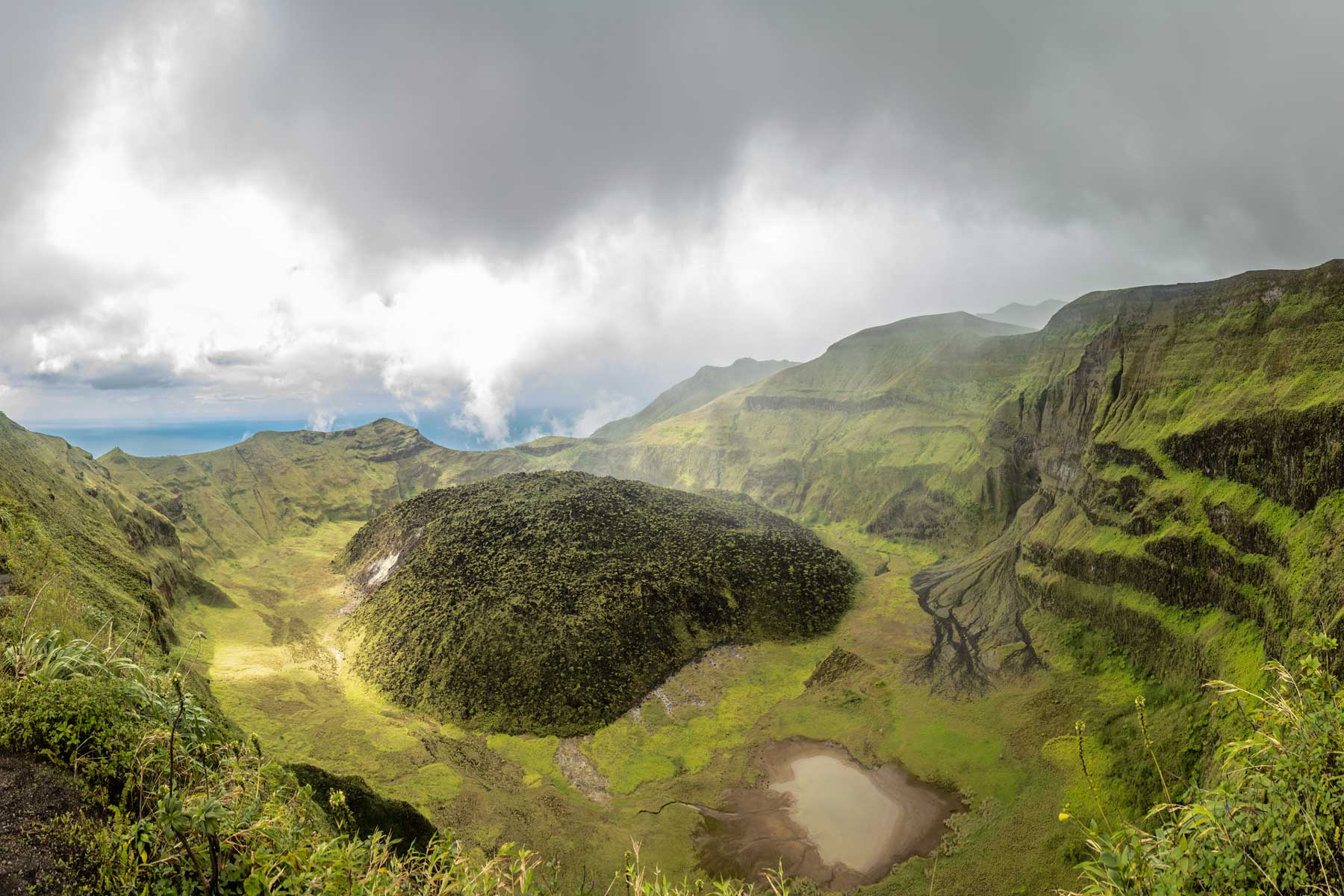 La Soufriere volcano crater panorama with tuff cone hidden in green, Saint Vincent and the Grenadines