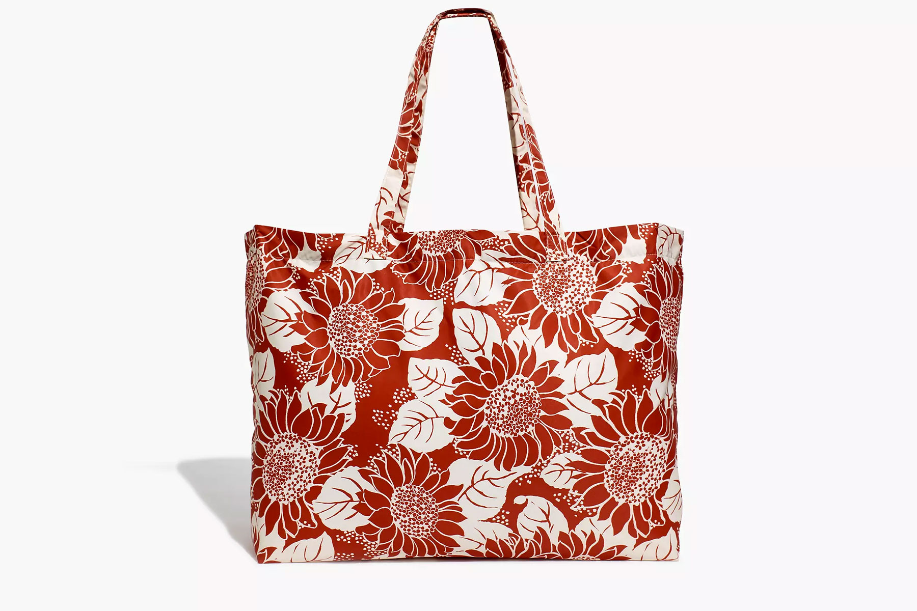 Red and white floral nylon tote