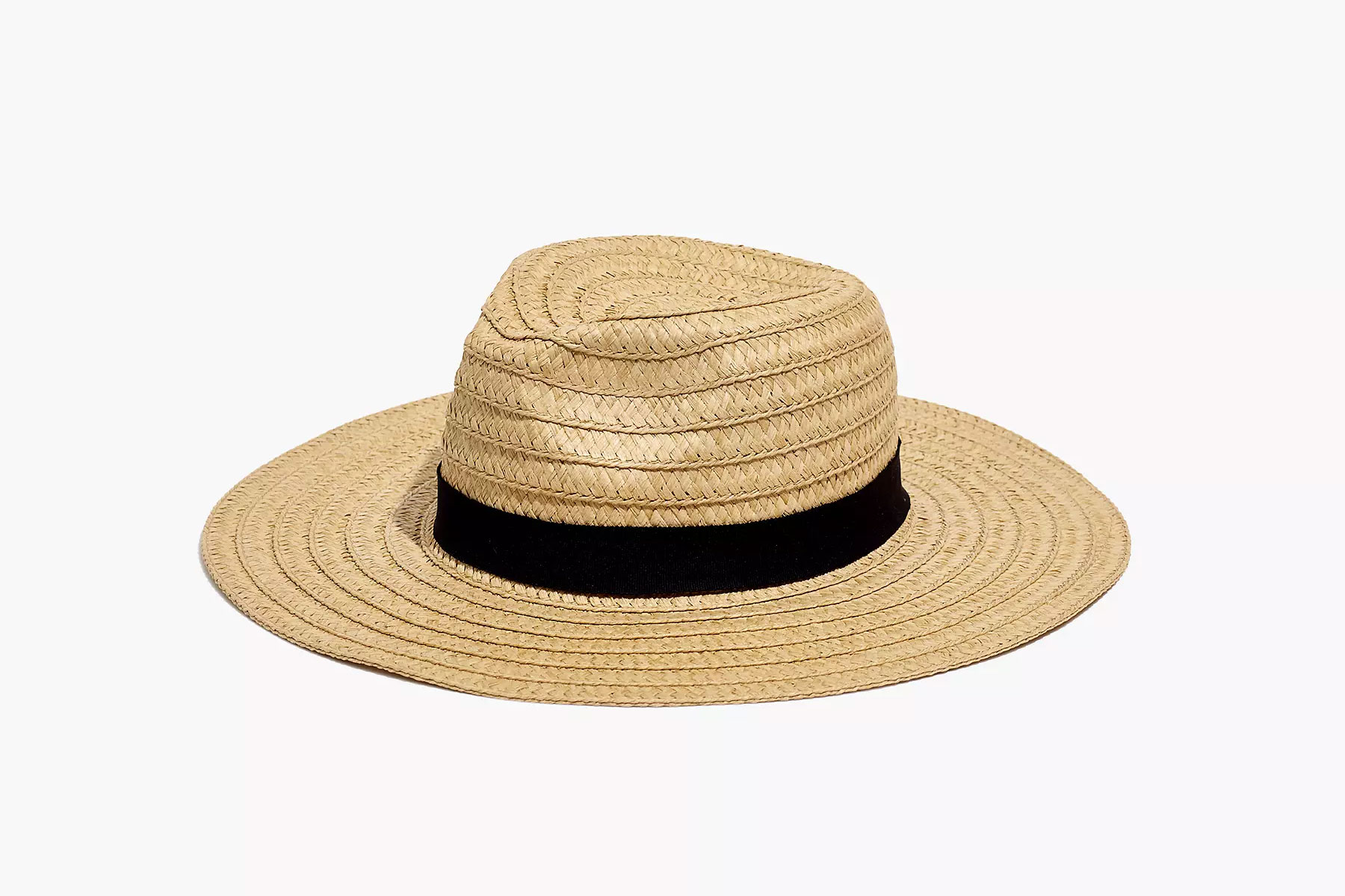 Woven straw hat with black band