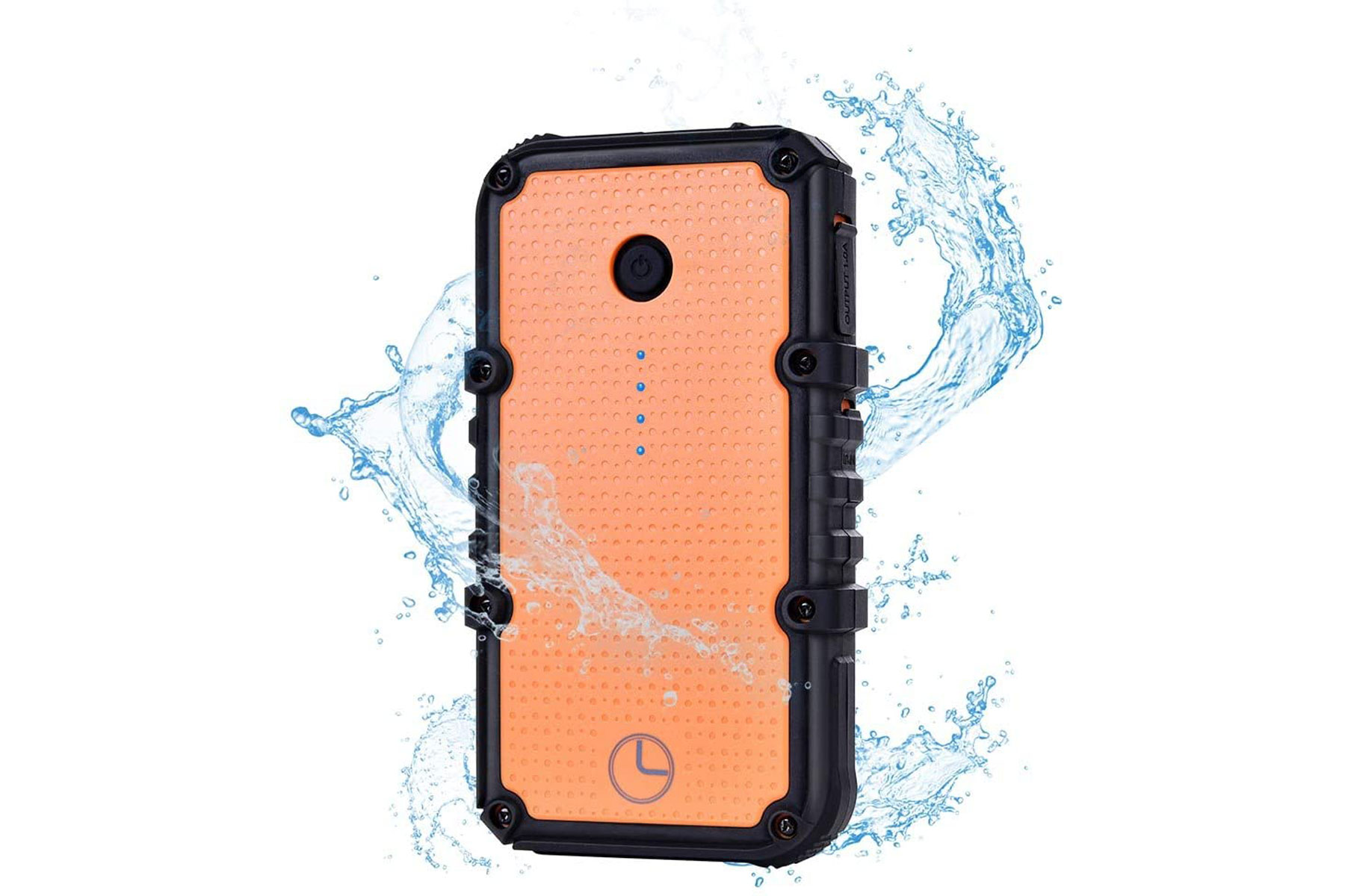 Orange and black waterproof powerbank