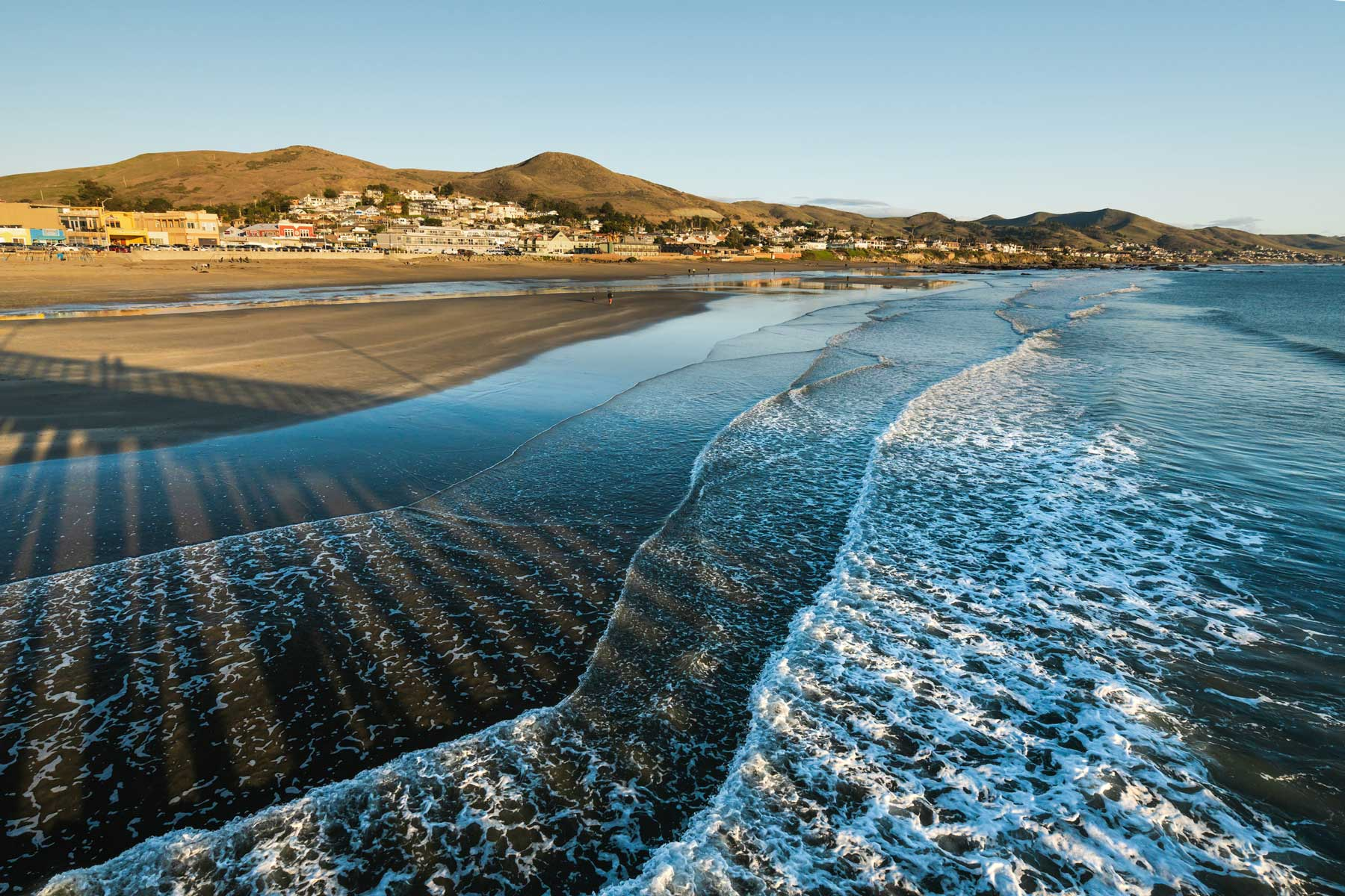 Cayucos State Beach. Waterfront along the charming beach town.