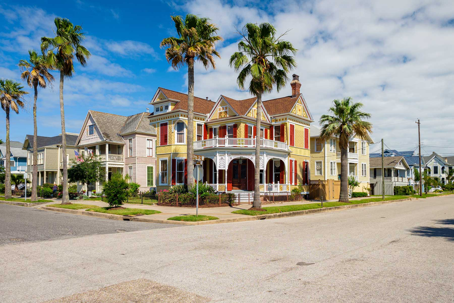 The Silk Stocking Residential Historic District contains beautifully restored vintage homes of the Queen Anne architecture style in this coastal community.