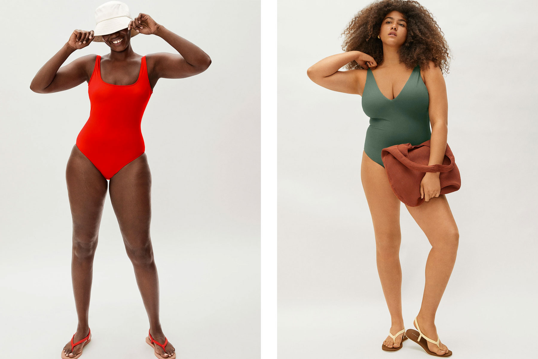Women wearing red and green one piece swimsuits