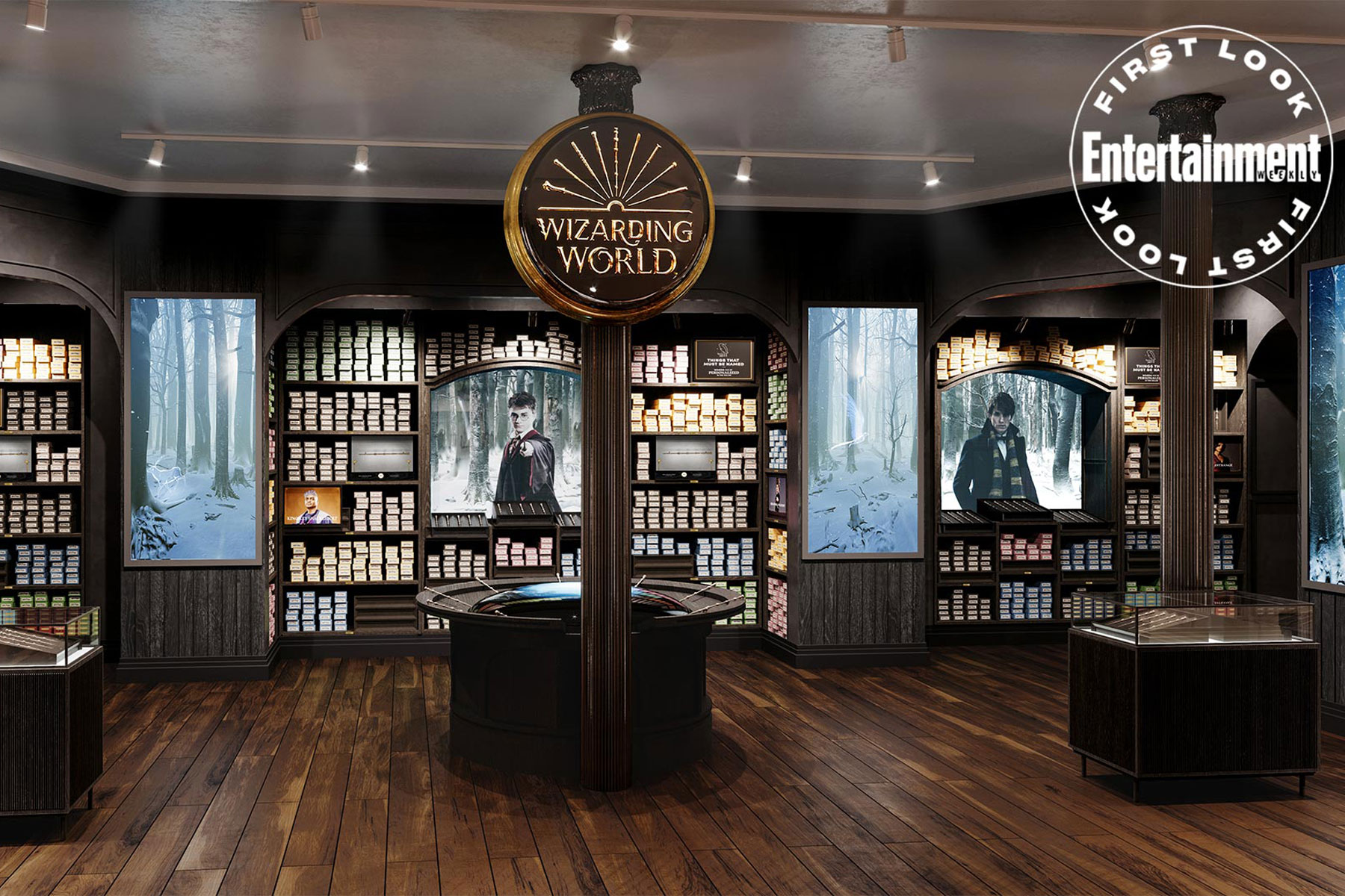 Warner Bros. Harry Potter Store New York wall of wands for sale