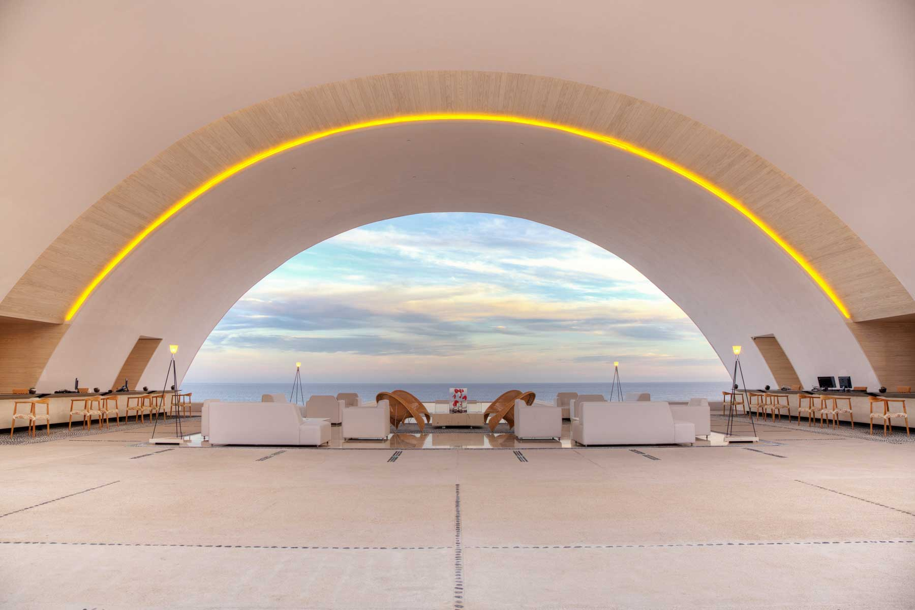 Open-air lobby at Marquis Los Cabos