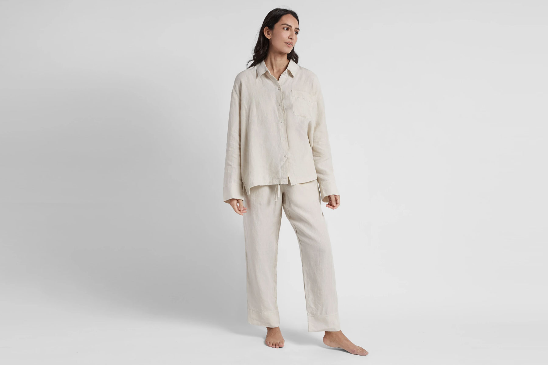 Woman wearing linen shirt and pants