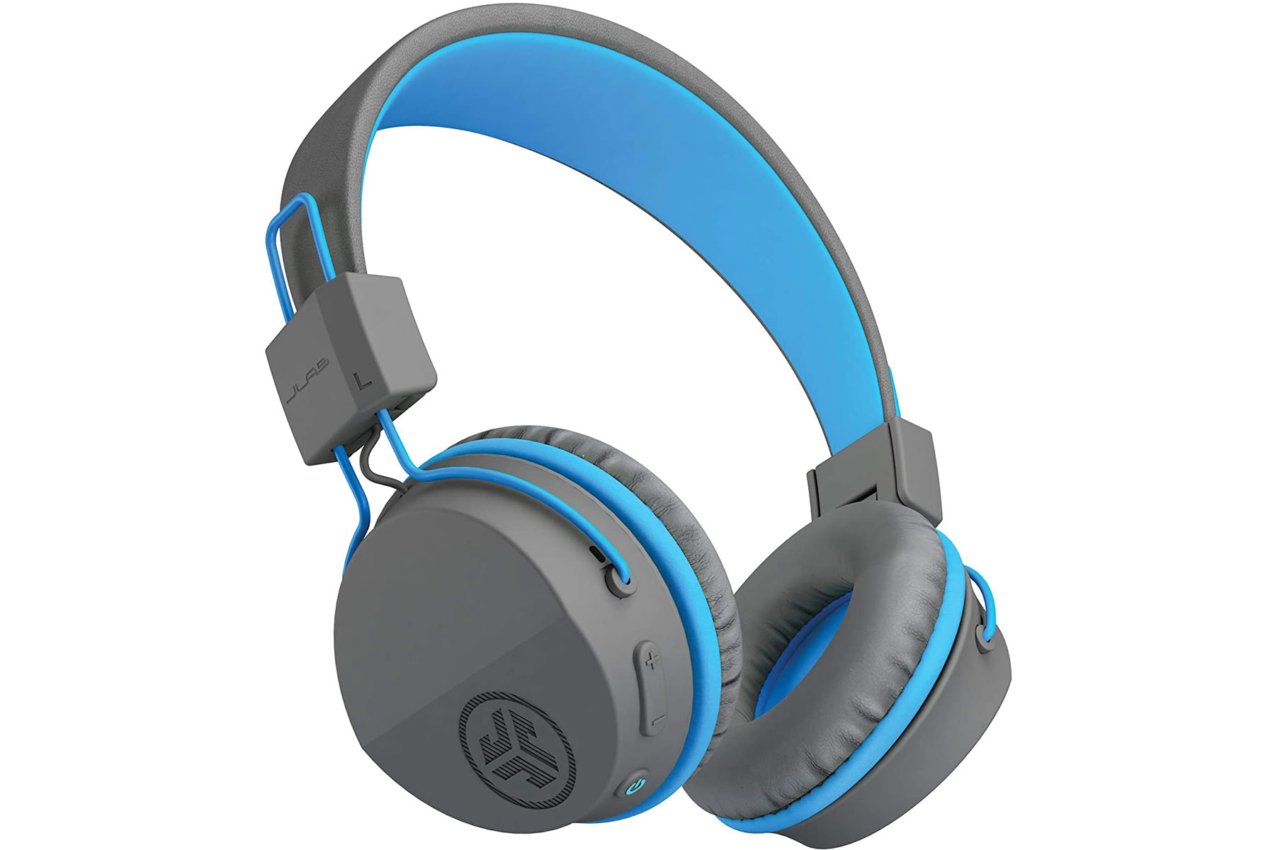 Grey and blue over ear headphones