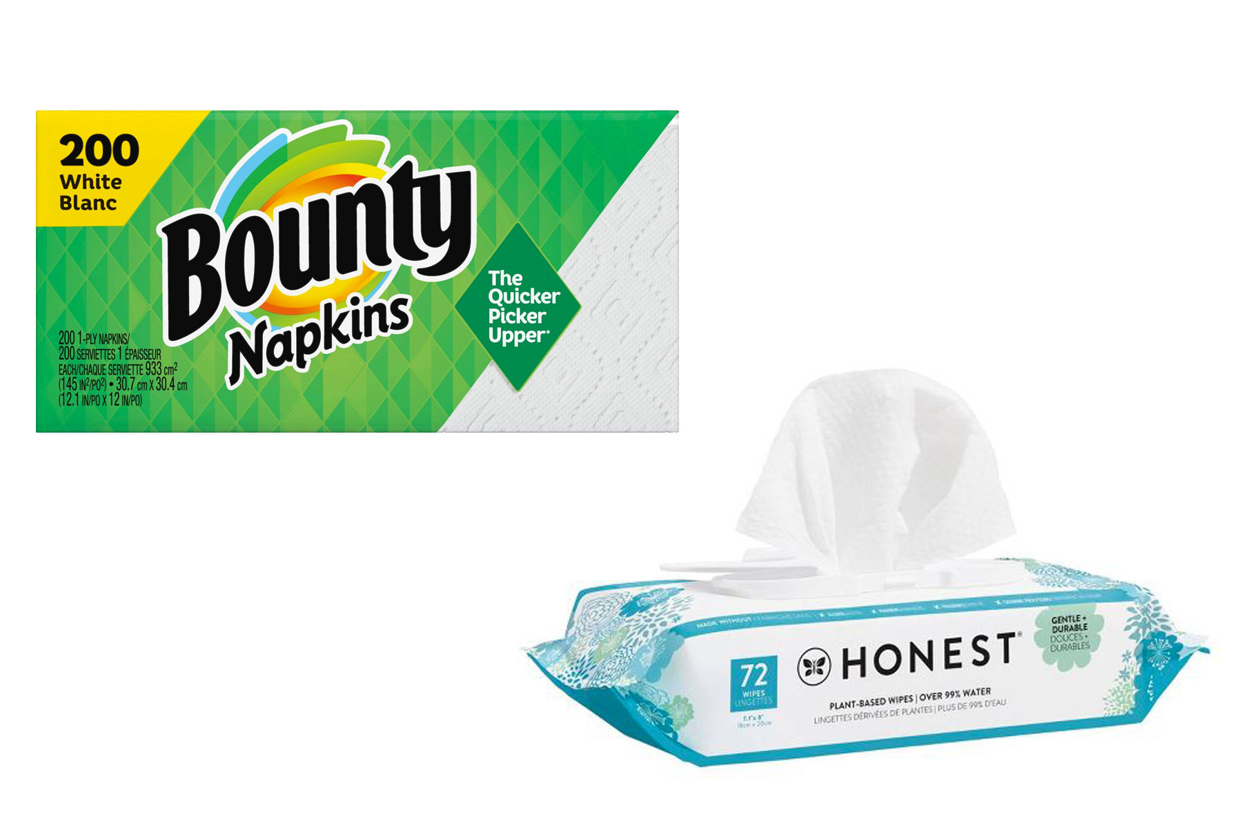 Bounty napkins and Honest Co. baby wipes