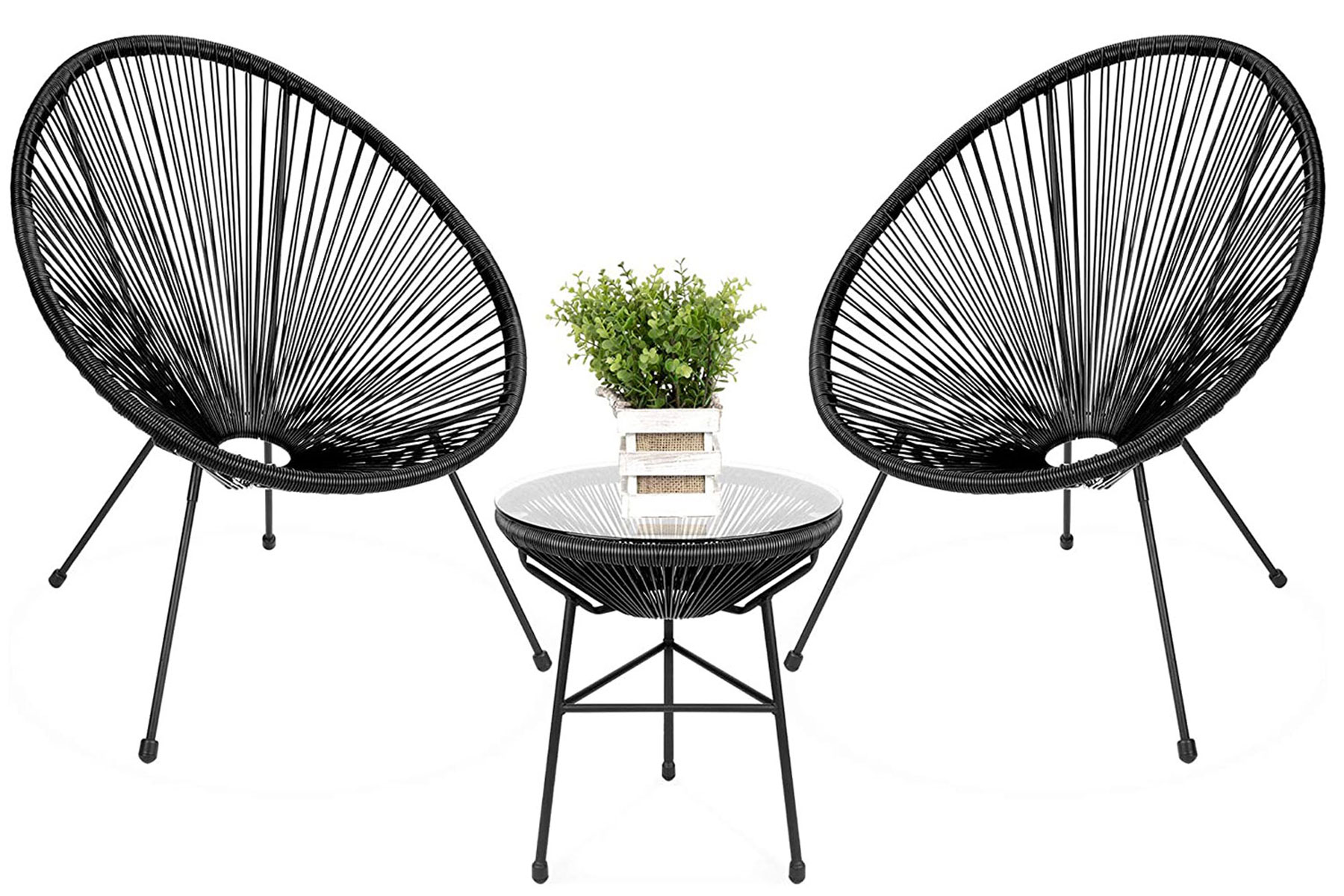 Black outdoor chairs and table