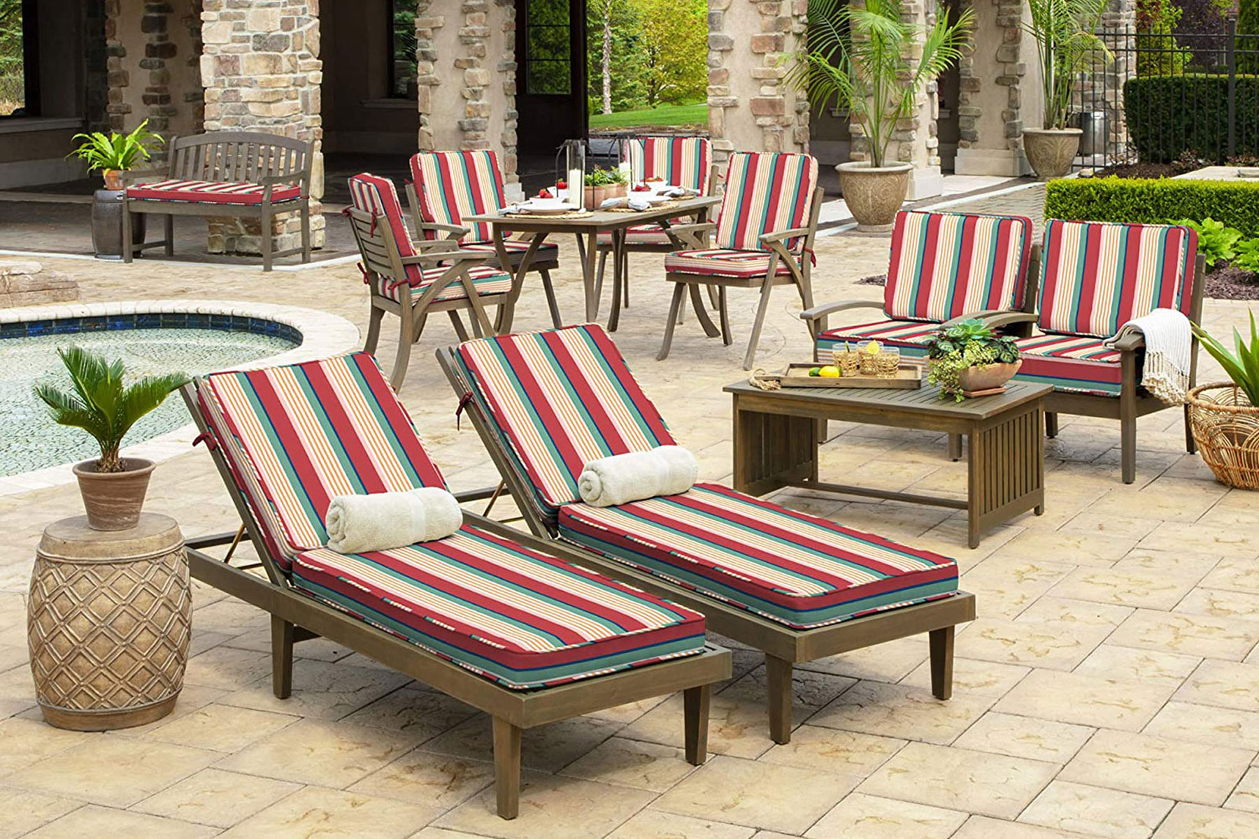 Red and tan striped wooden lounge chairs