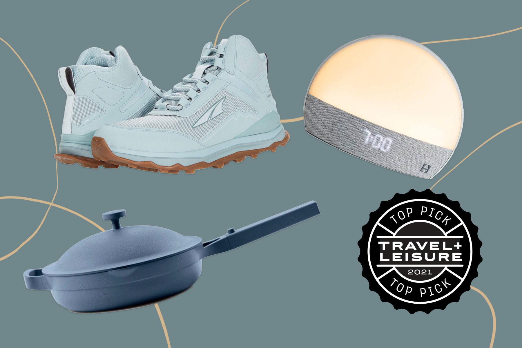 Hiking boots, alarm clock, pan with lid