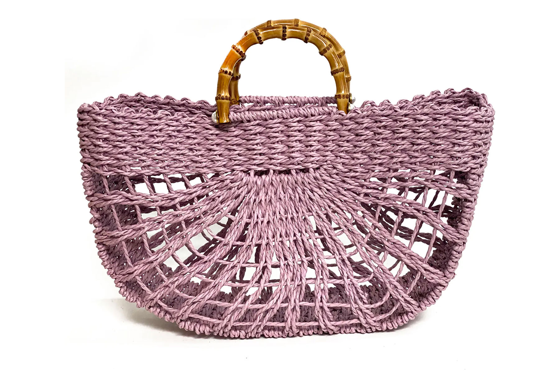 Purple straw structured tote