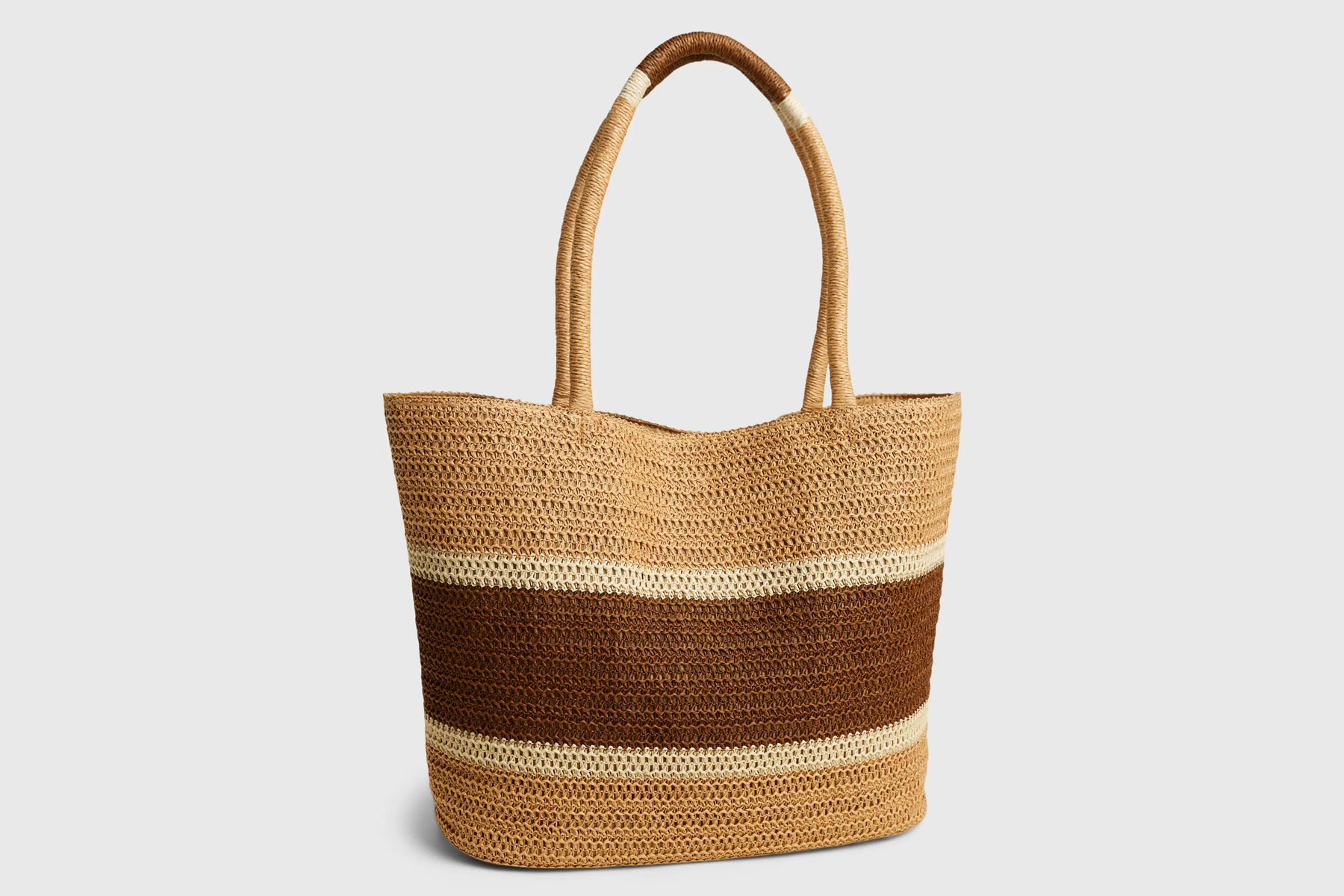 Brown and tan striped woven tote