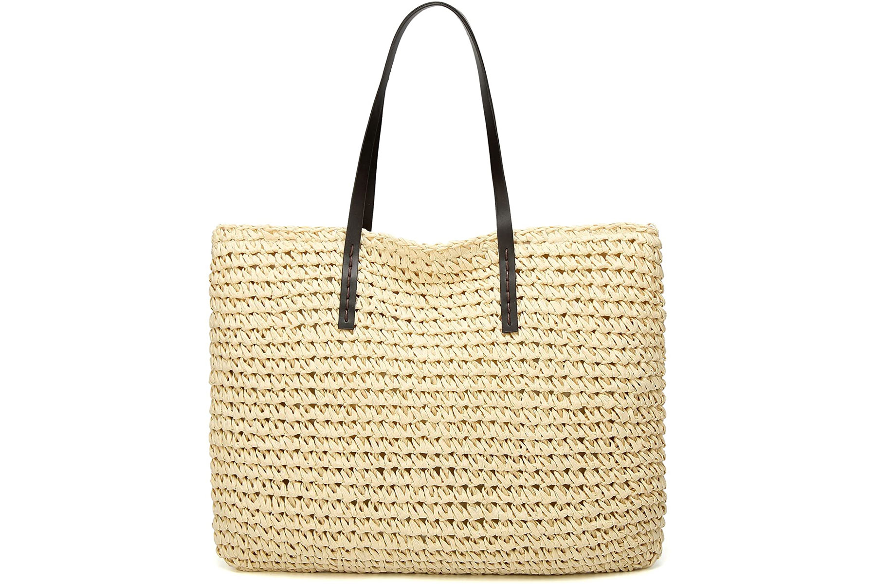 Light woven tote bag with leather handle