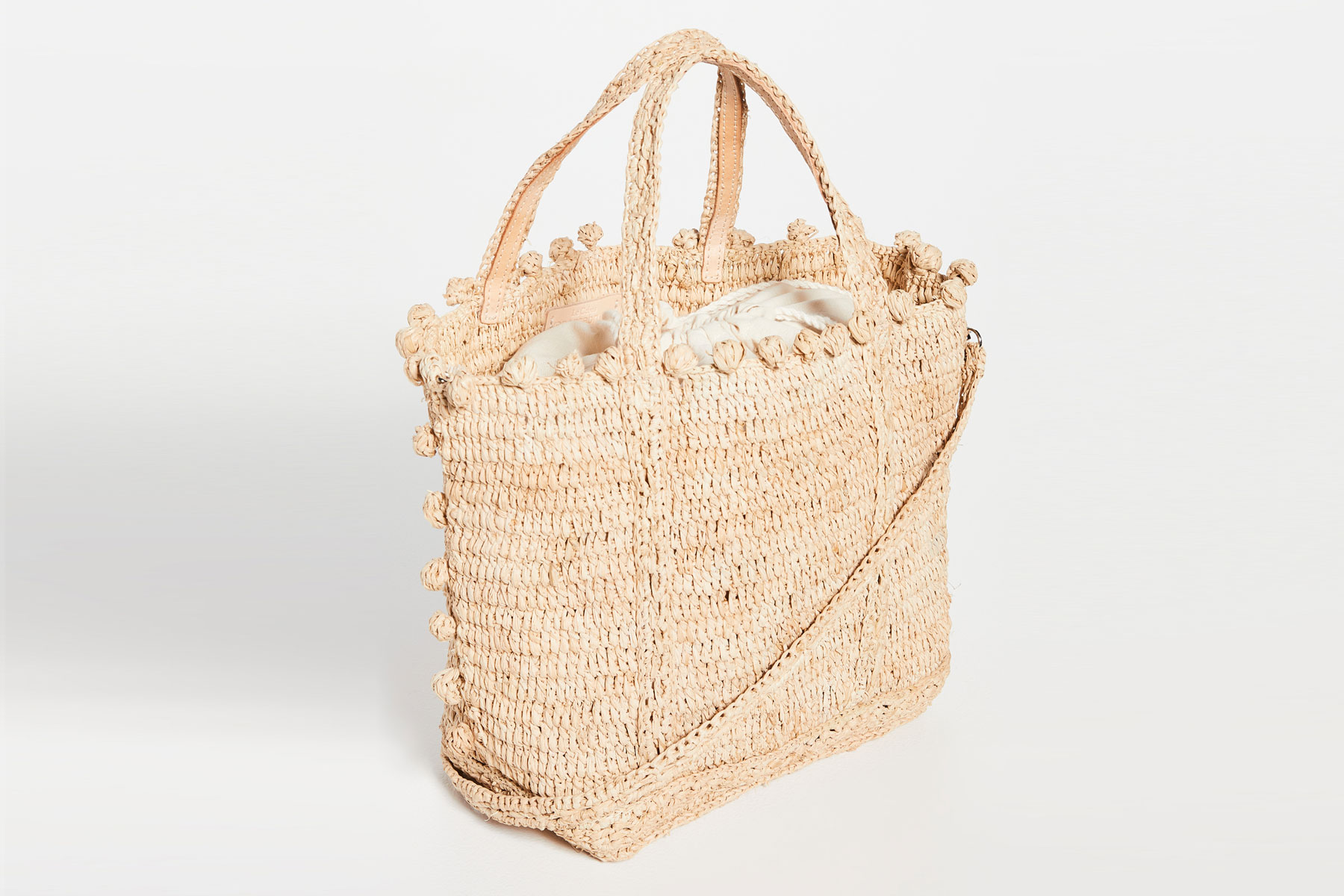 Light tan woven small bag
