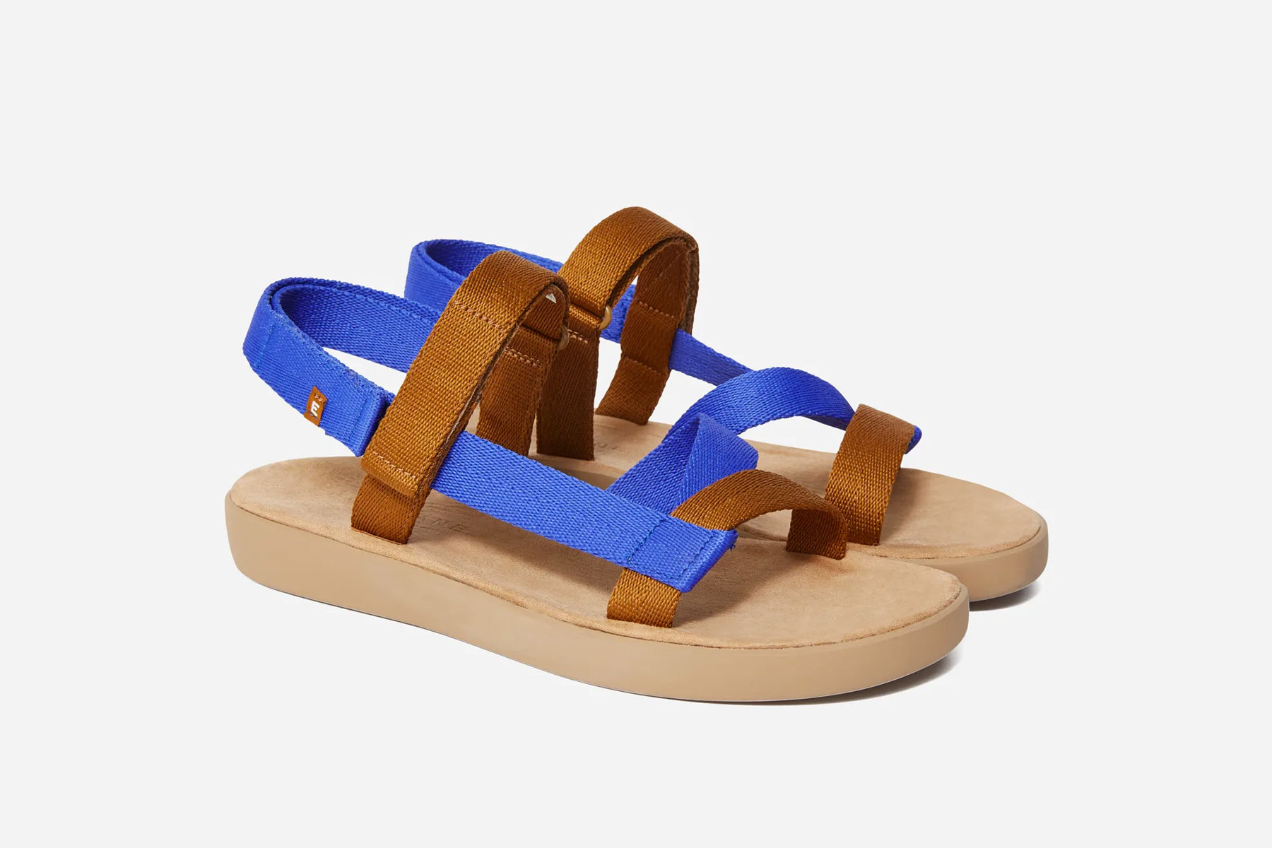 Brown and blue strappy sport sandals