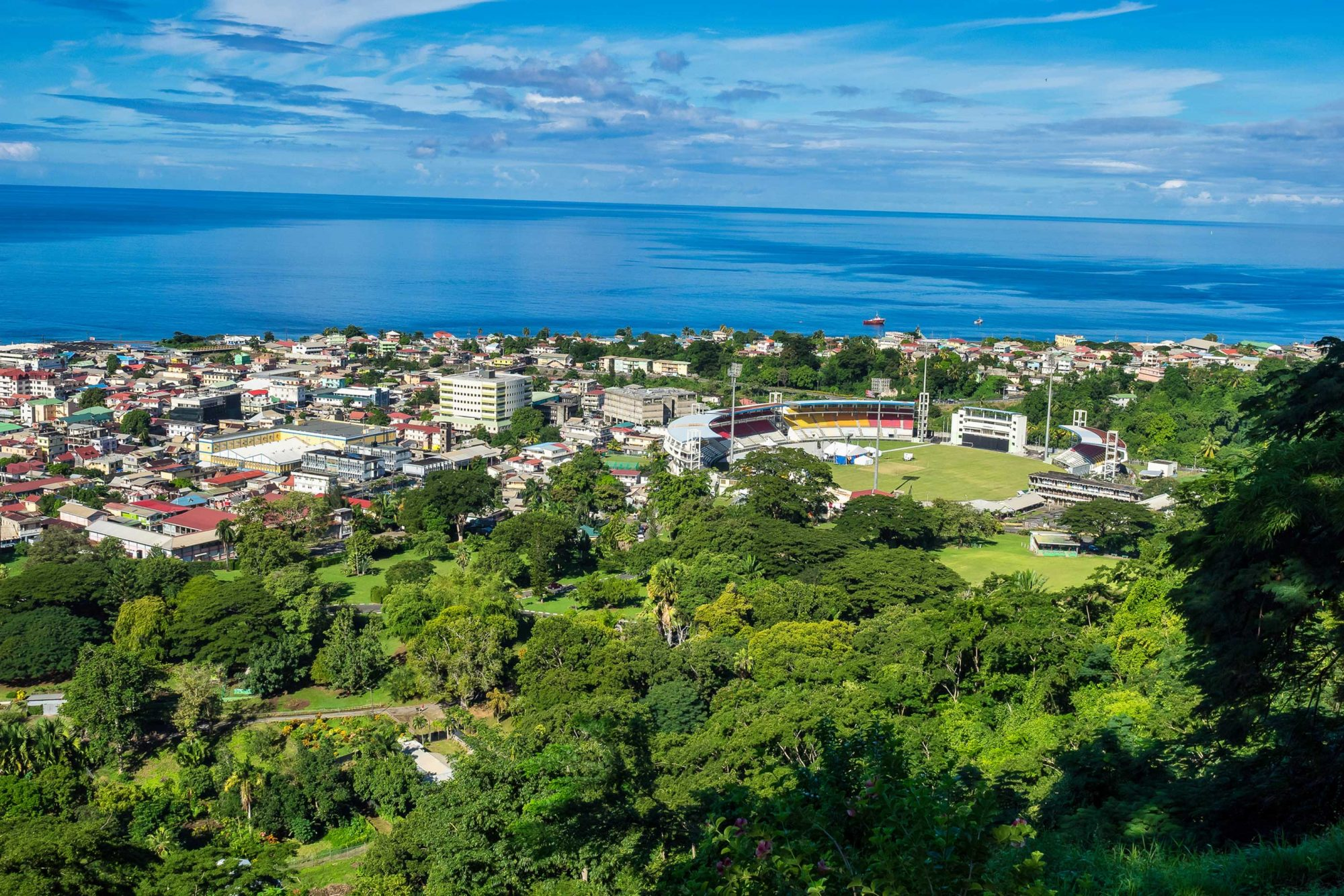 Scenic view of Roseau town and sea, Dominica island. Seen from the small mountain Morne Bruce