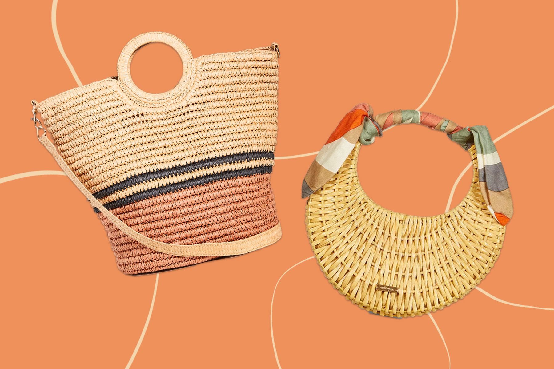 Two straw totes/purses