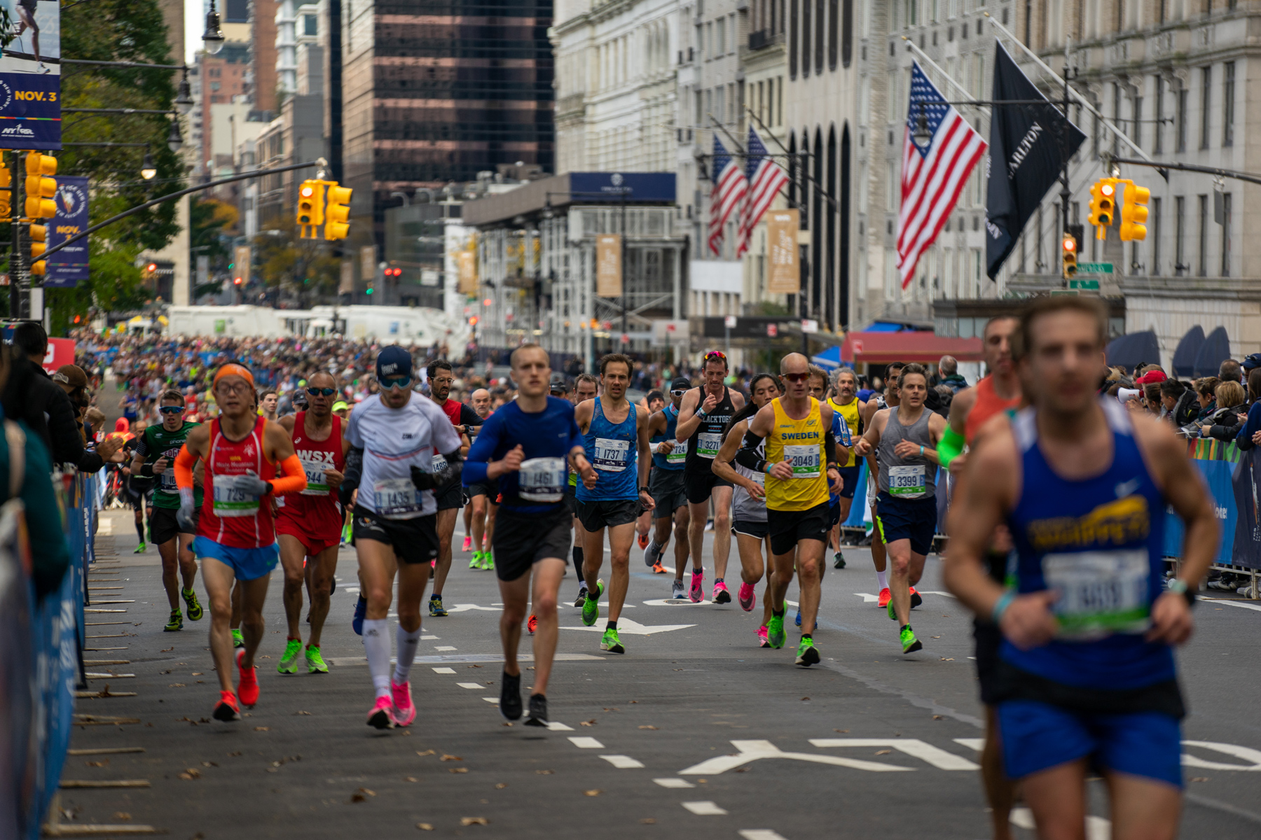 Runners are seen during the 2019 TCS New York City Marathon