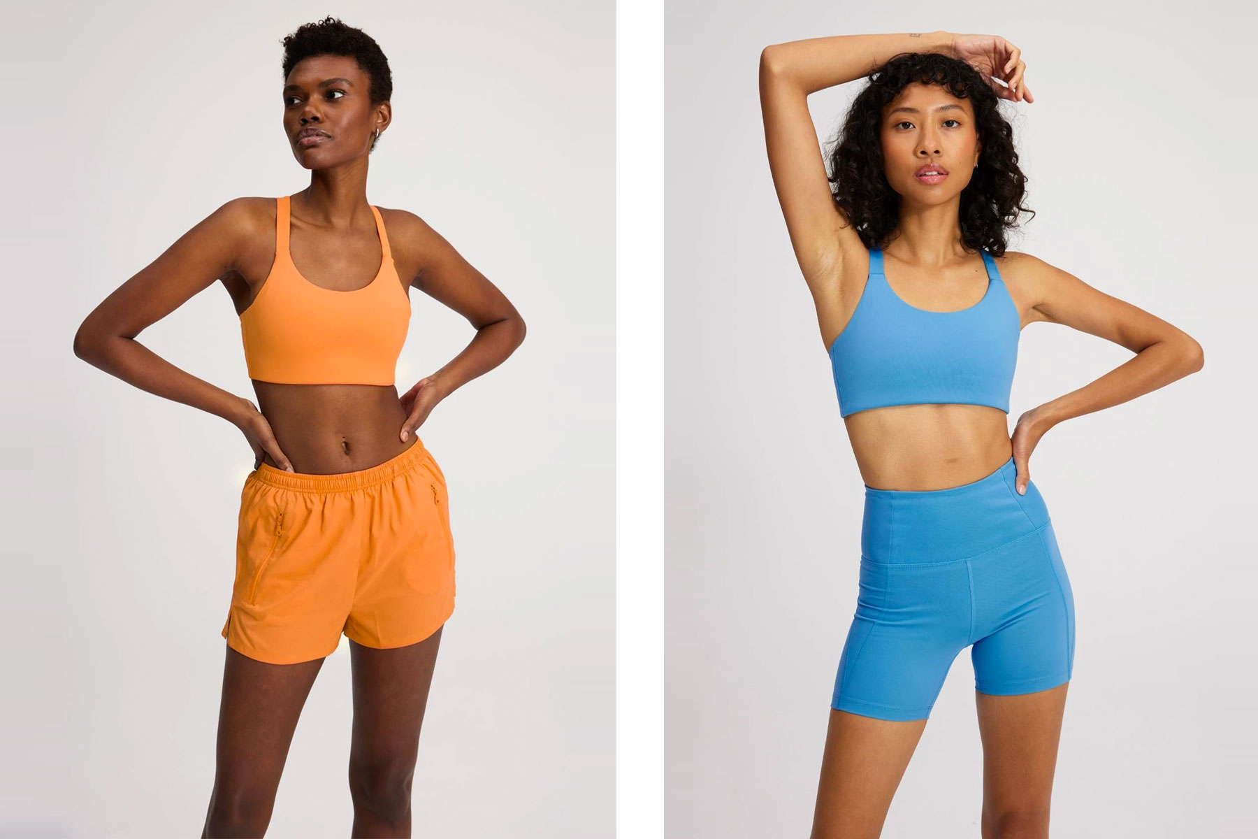 Women wearing orange and blue shorts and sports bras