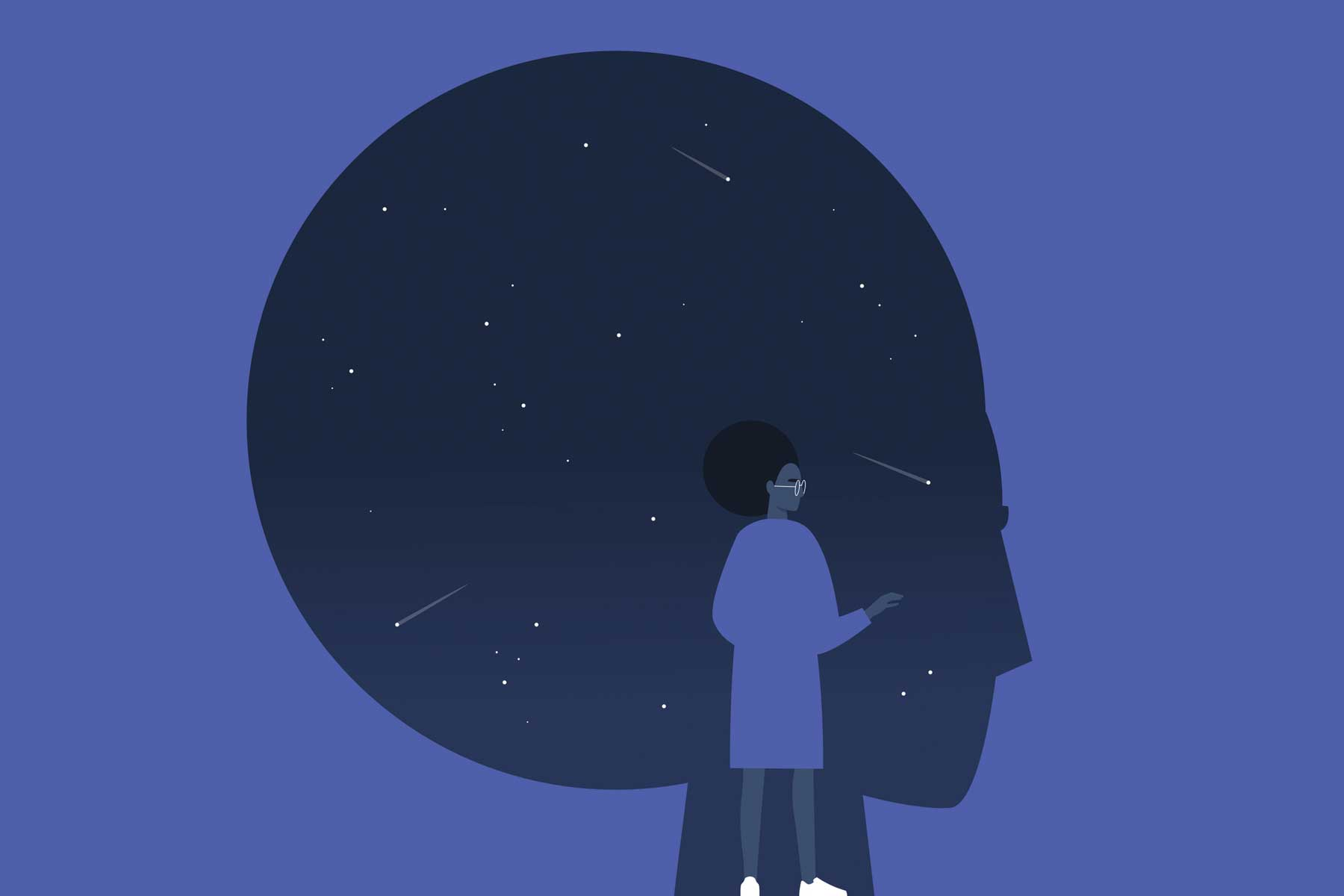 Psychoanalysis, young black female character studying their own subconscious, stars and comets inside a dark silhouette