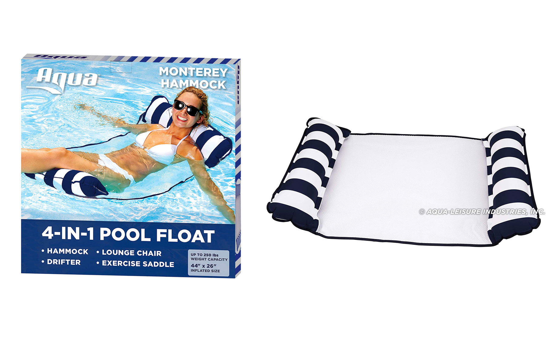 Navy and white pool float