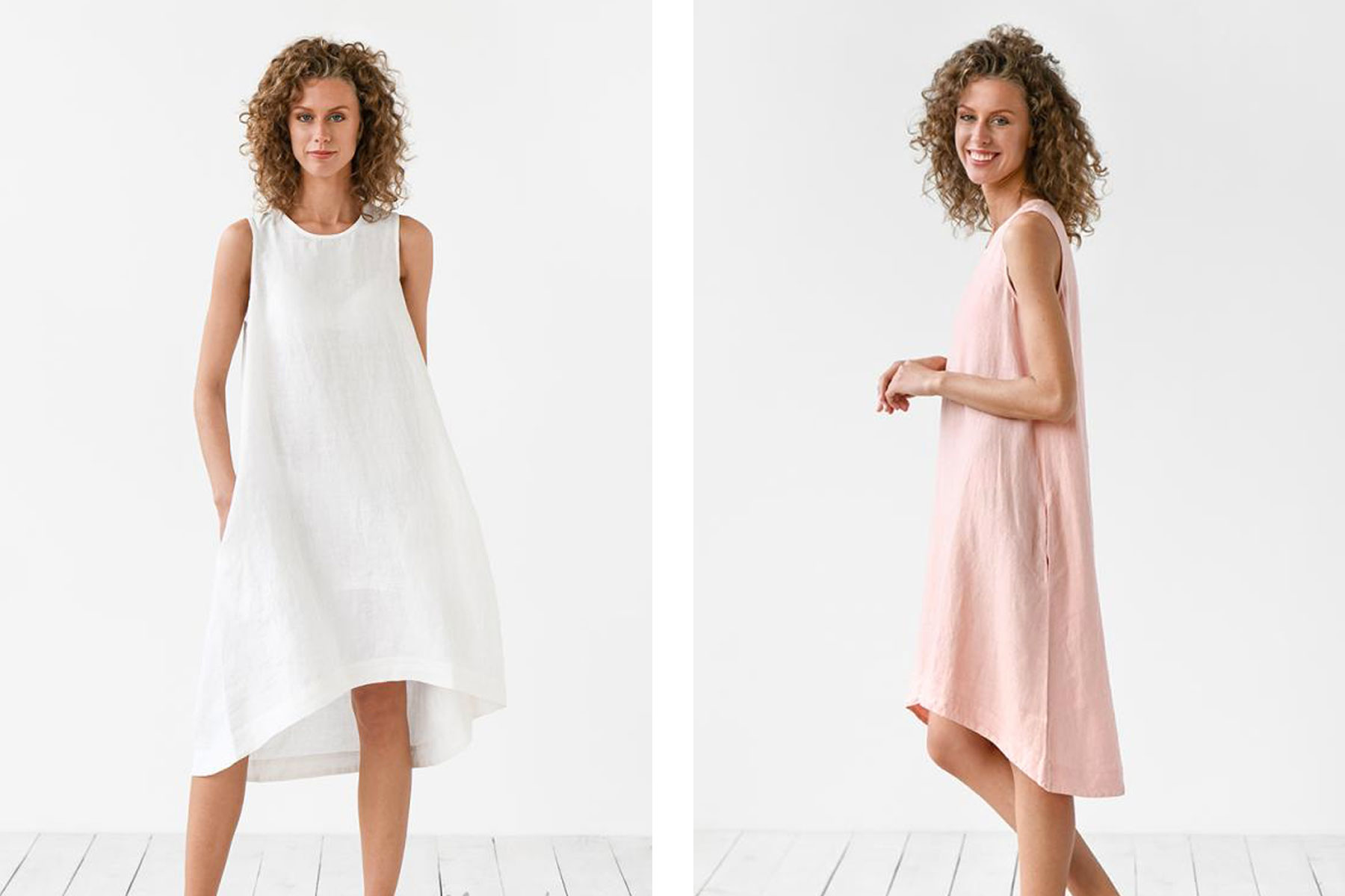 Woman wearing white and pink linen tank dresses