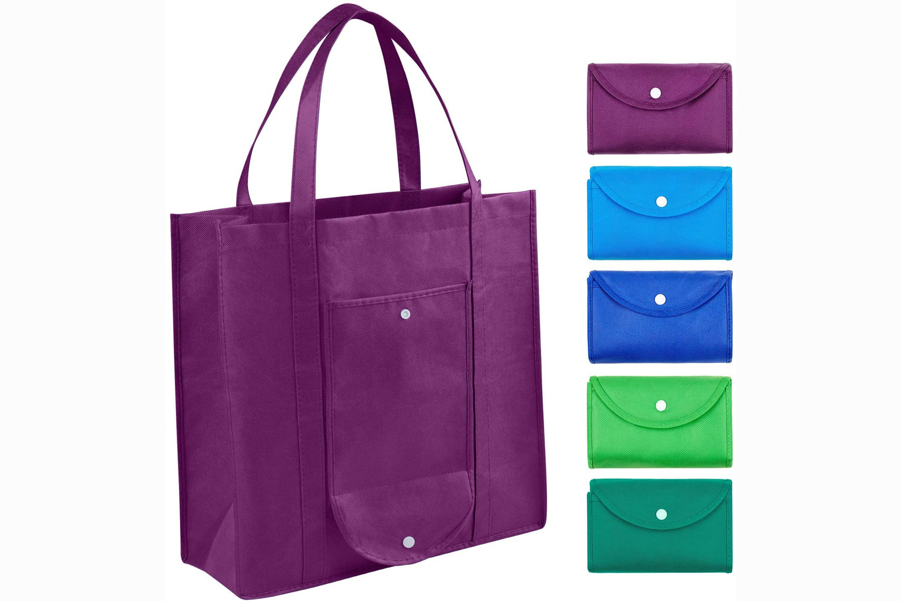 Purple, blue, and green shopping totes