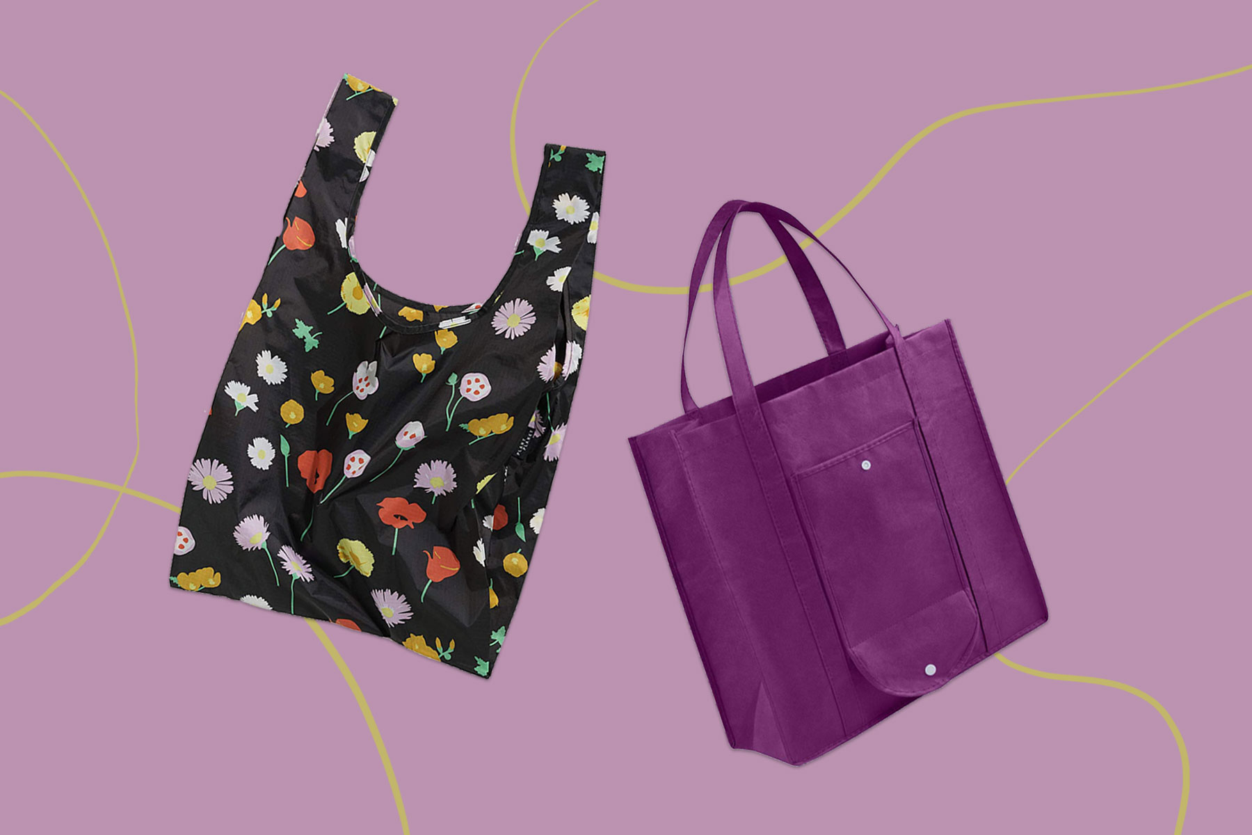Black, floral, and and purple tote bags