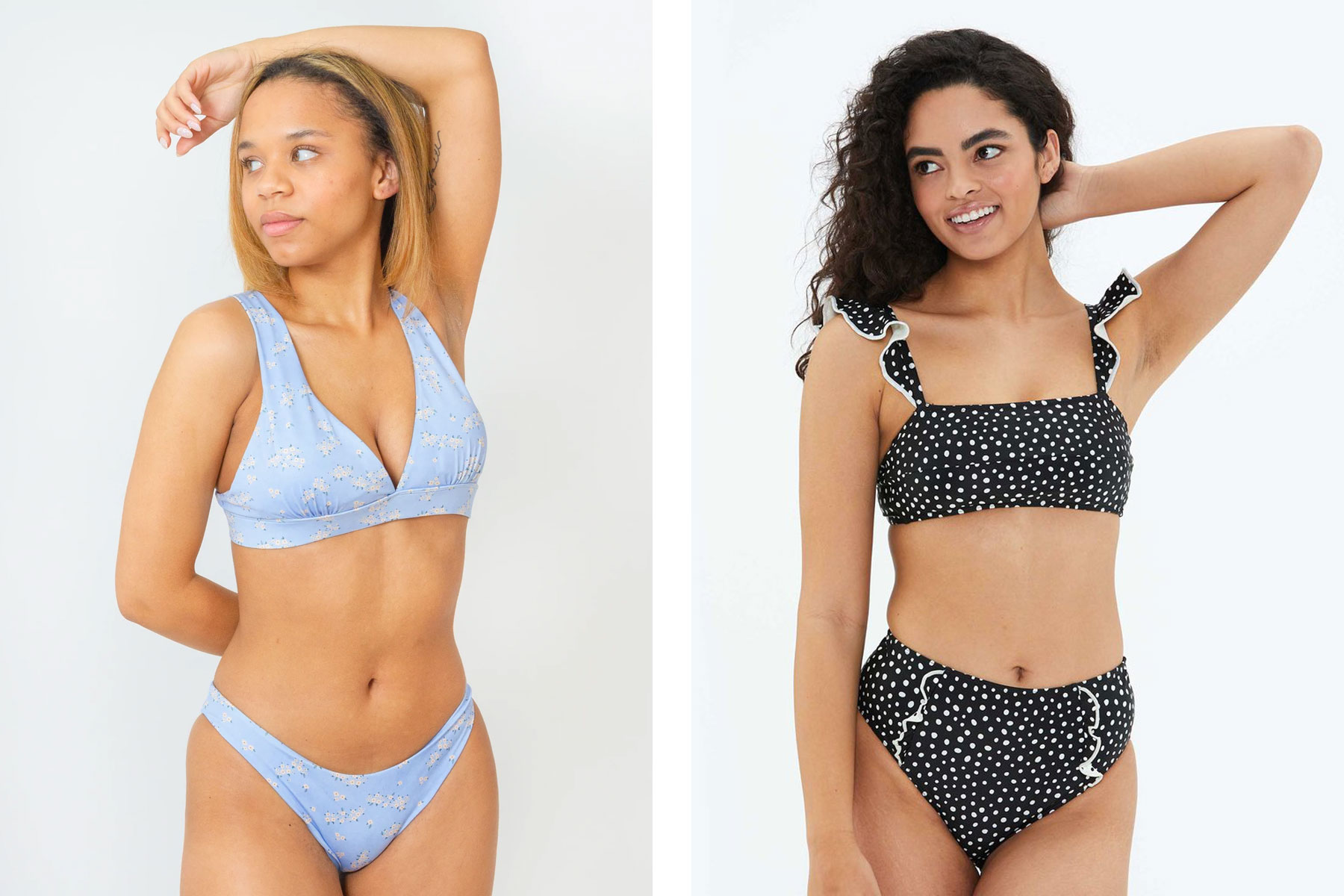 Women wearing blue floral and black polka dot swimsuits