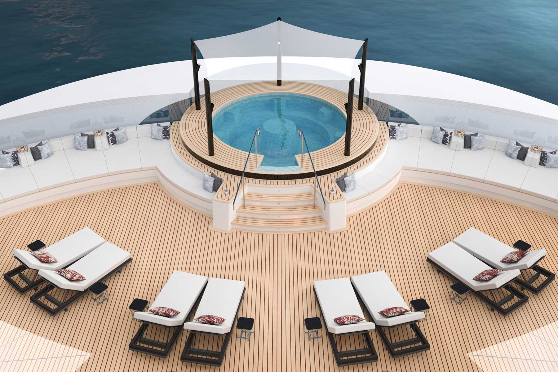 Rendering of the spa pool deck of a luxury yacht that will be operated by Ritz-Carlton