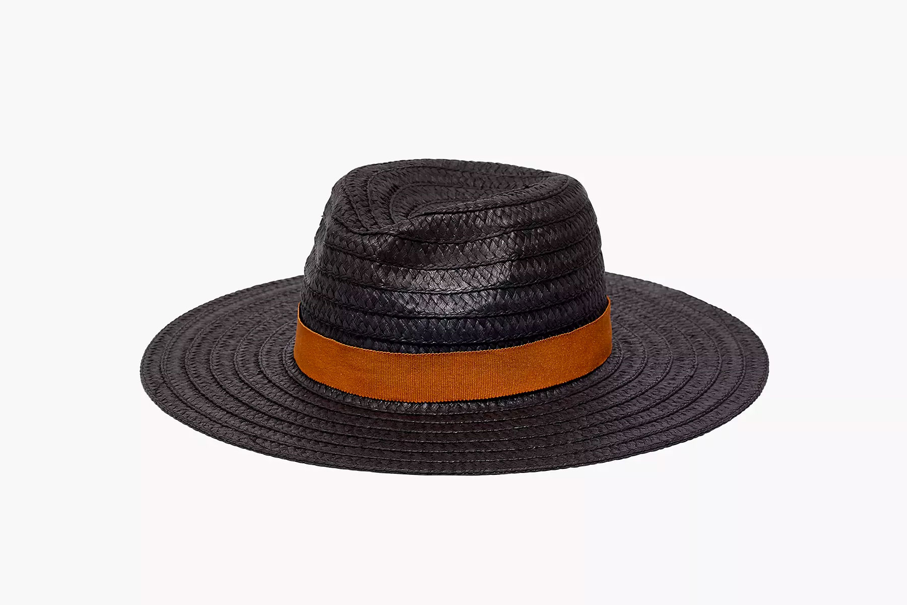 Black straw hat with tan band