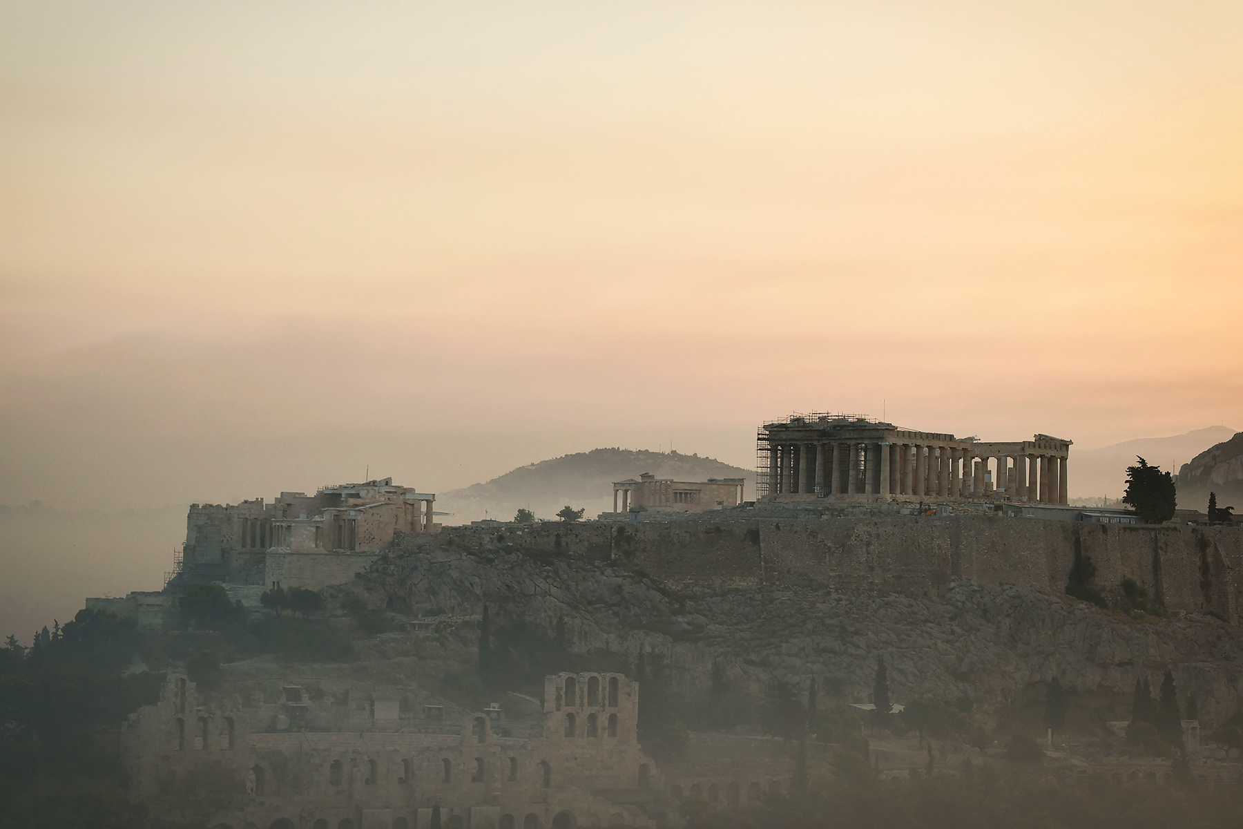 Smoke covering Athens centre and the Acropolis, due to fires burning at the foot of Mount Parnes, 30 kilometres north of Athens.