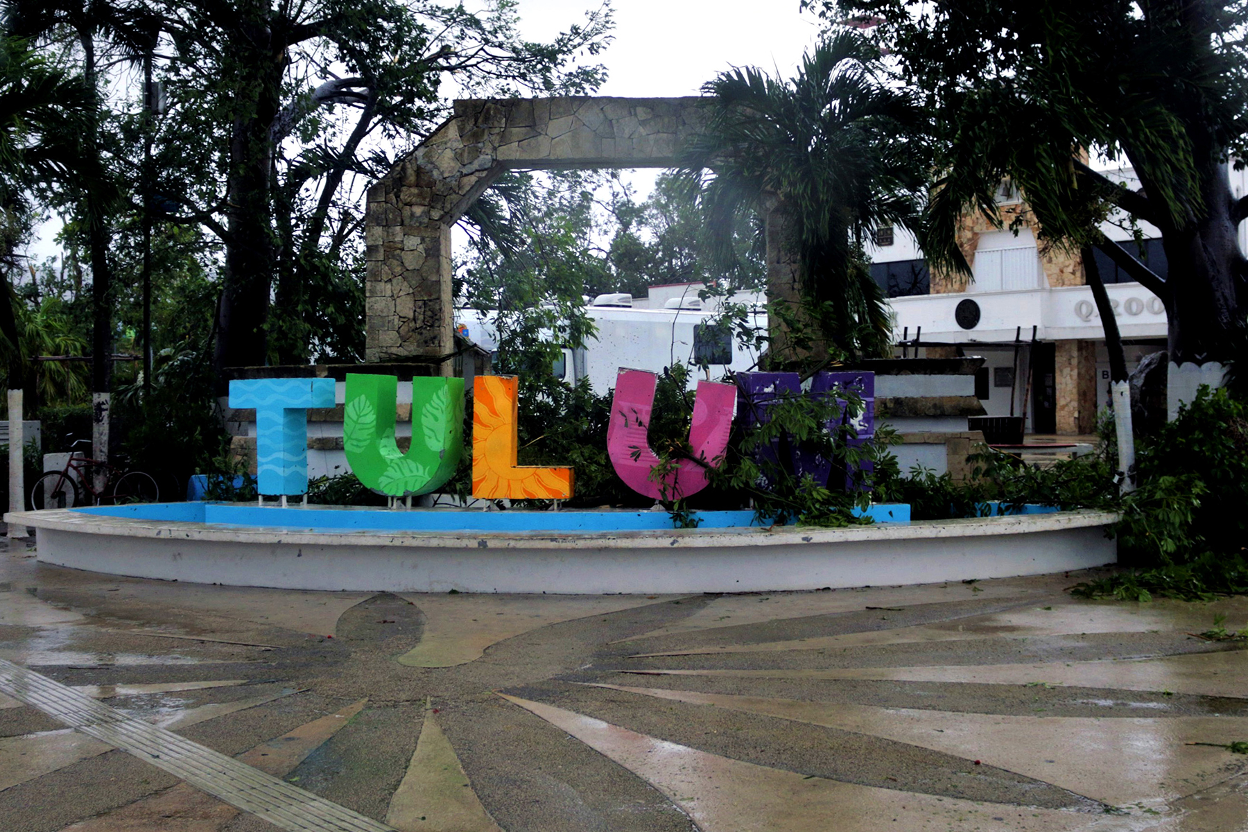 The Tulum welcome sign which suffered damages after Grace hit Tulum as a category 1 hurricane on August 19, 2021 in Tulum, Mexico.