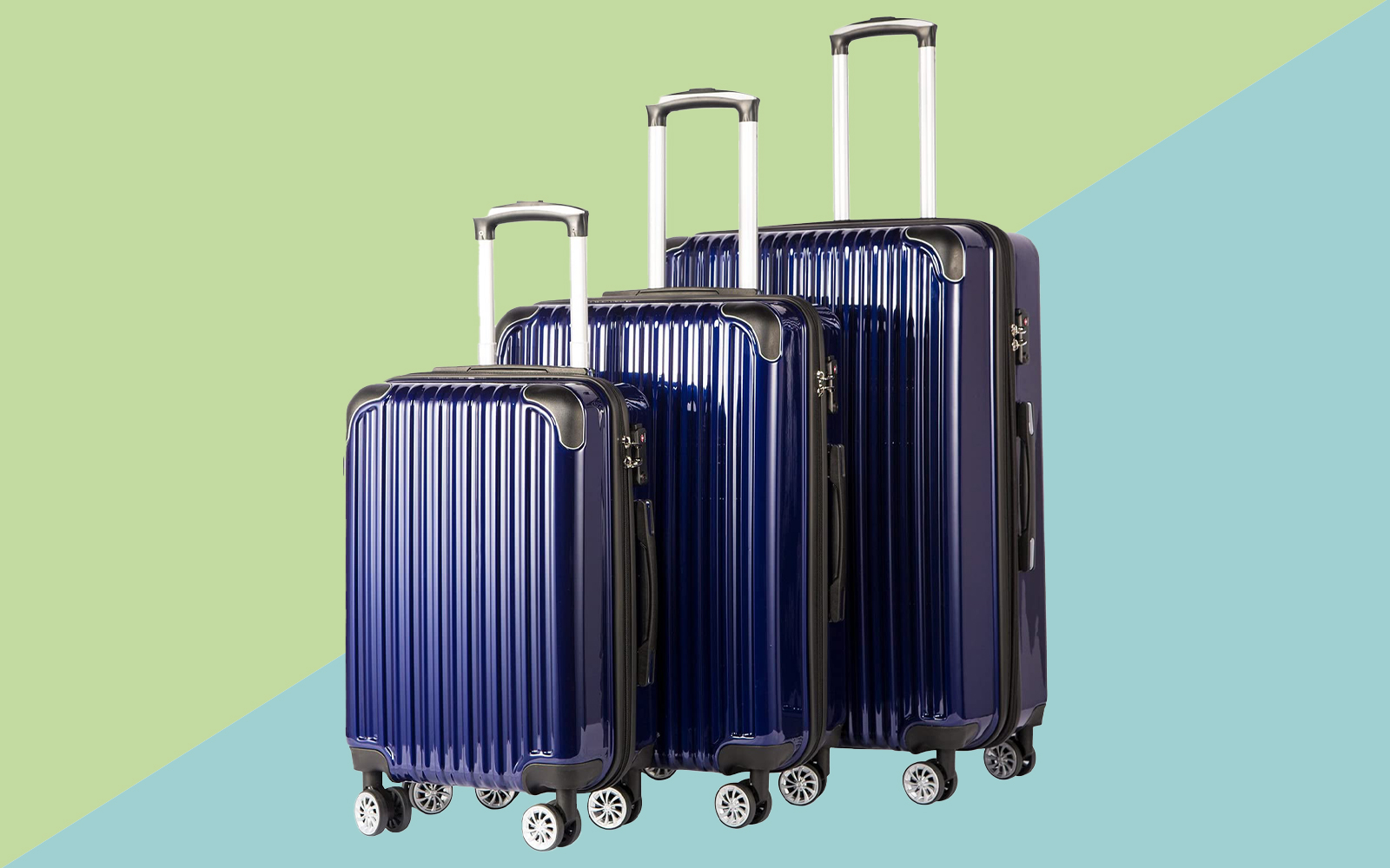 Coolife Luggage Expandable 3 Piece Sets PC+ABS Spinner Suitcase