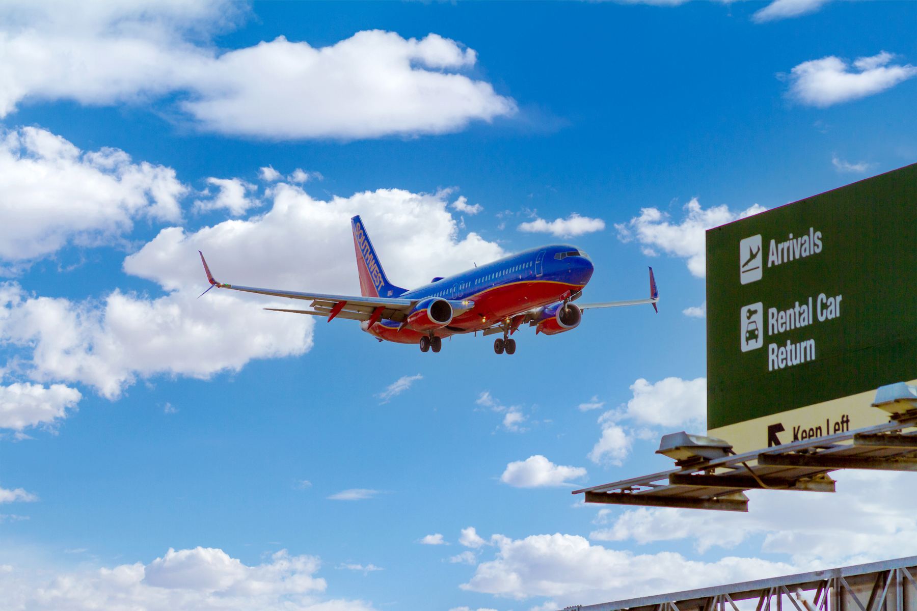 Southwest Airlines airplane coming in for a landing at John Wayne Airport in Orange County, California.