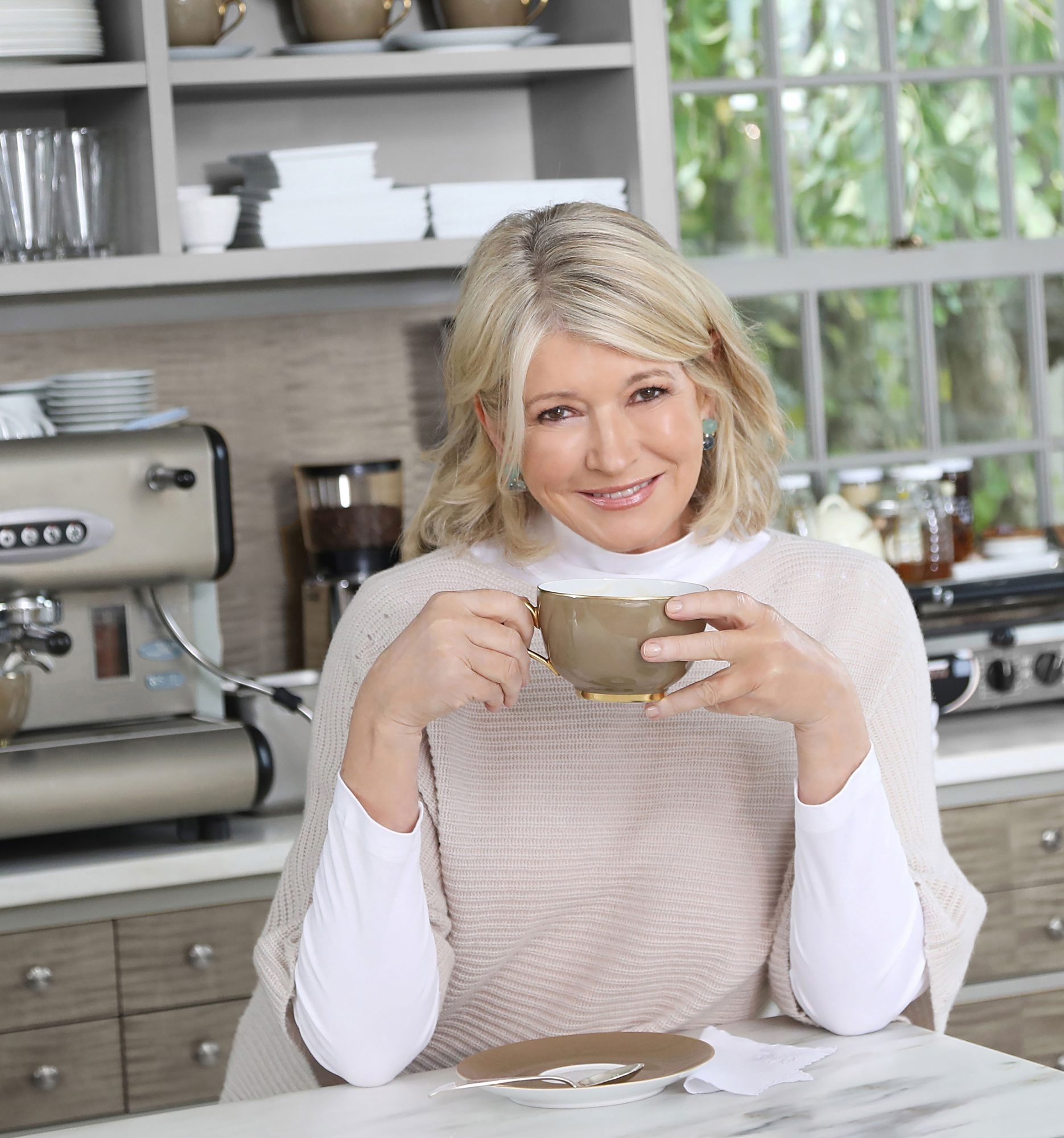 Martha Stewart Headshot, Drinking Coffee