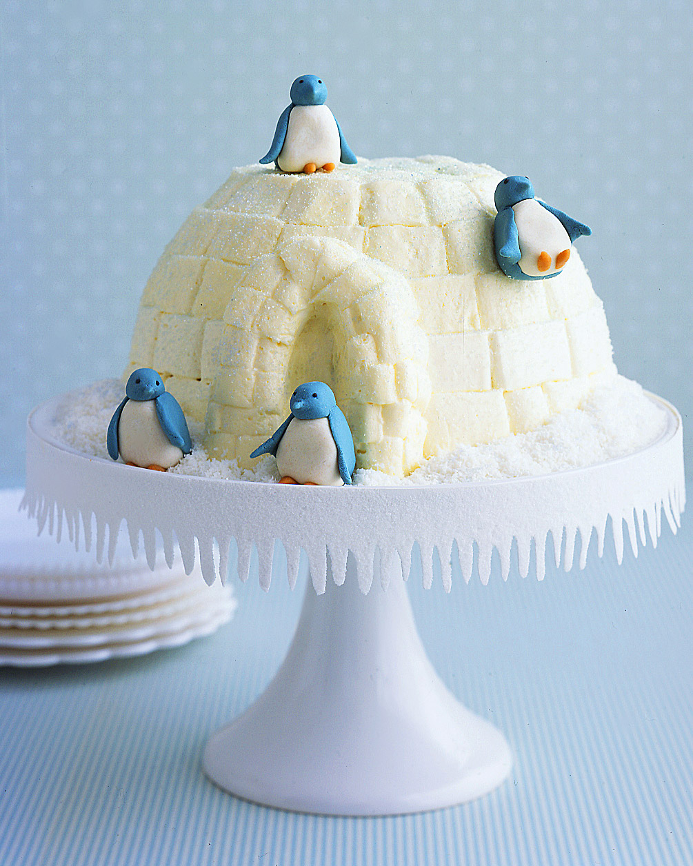 Igloo Cake with Marzipan Penguins