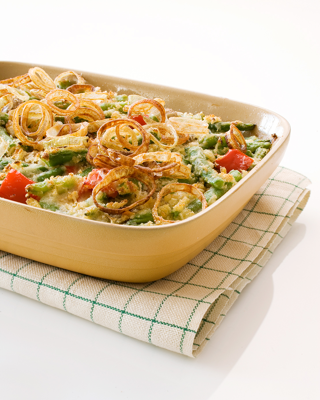 casserole with fried onion on top