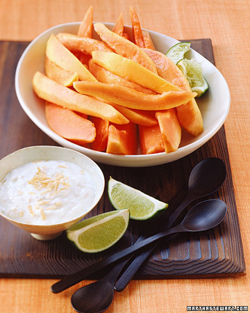 Fresh Papaya with Coconut-Lime Yogurt
