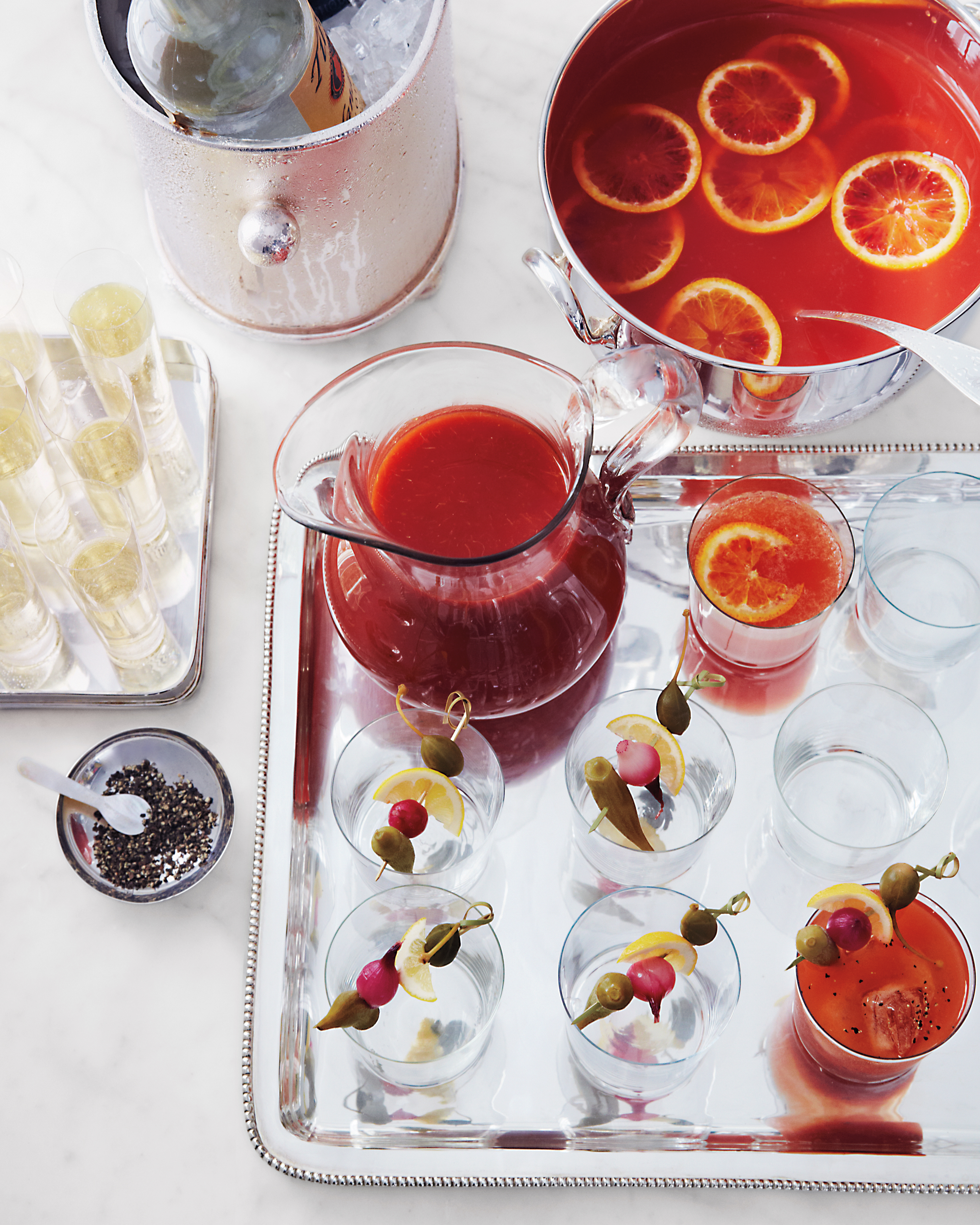 Mulled Blood-Orange Punch and Bloody Mary Mix