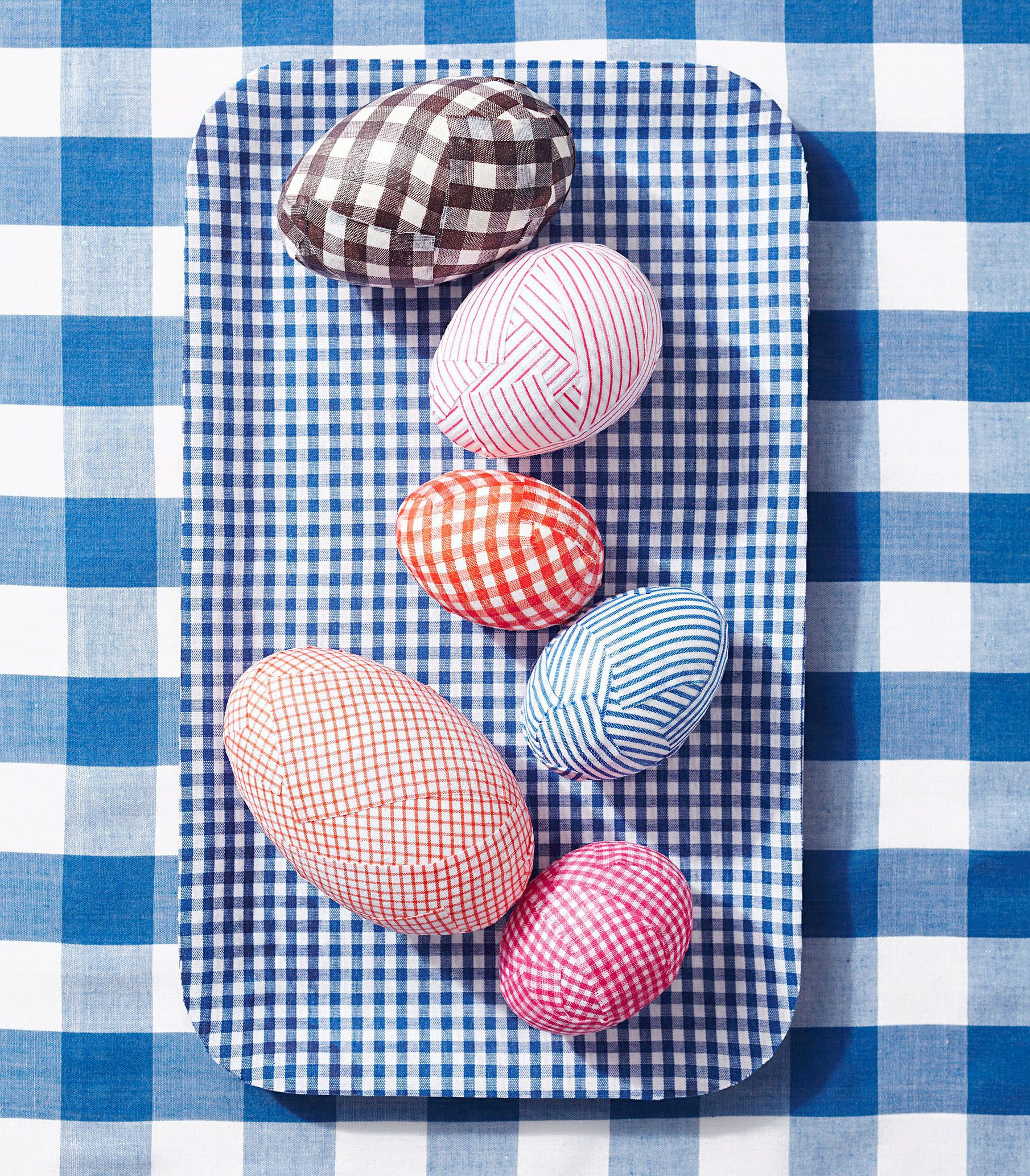 gingham decoupaged easter eggs
