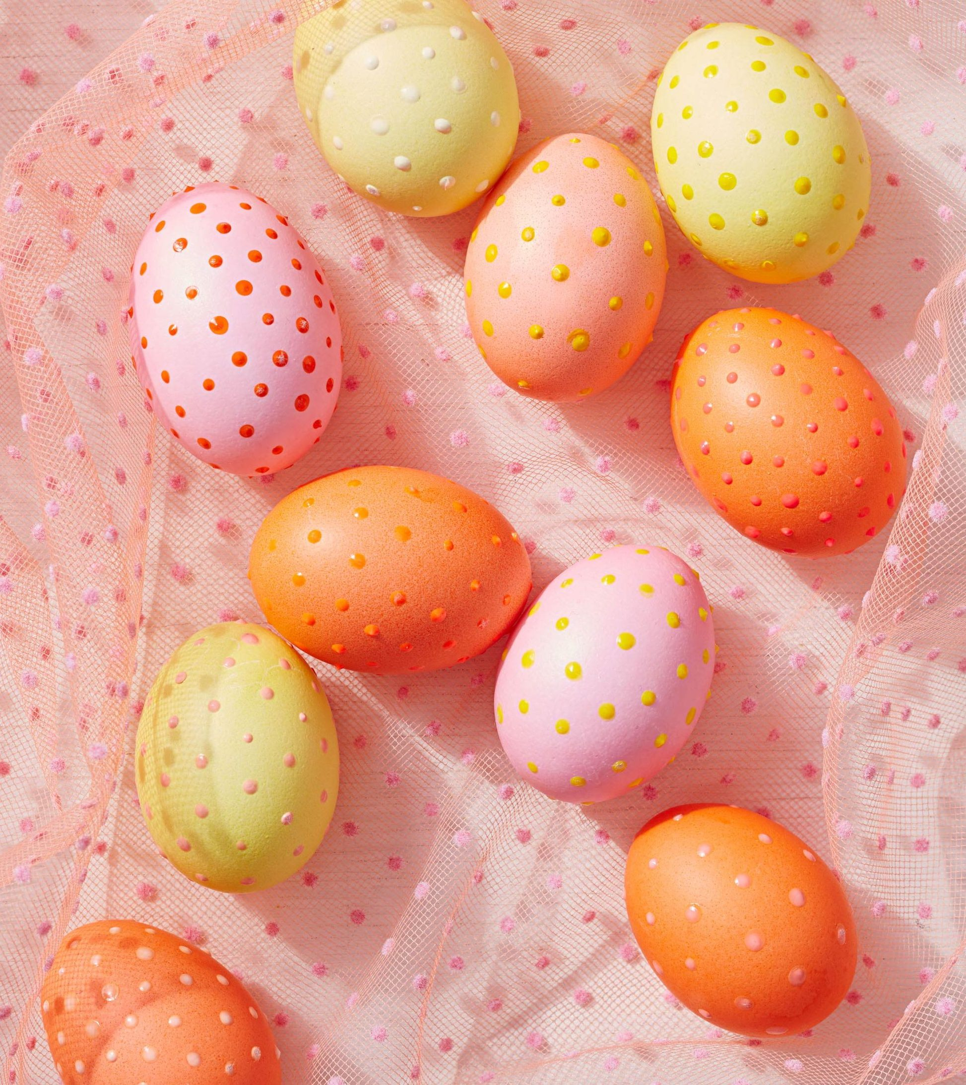 puffy paint dotted easter eggs