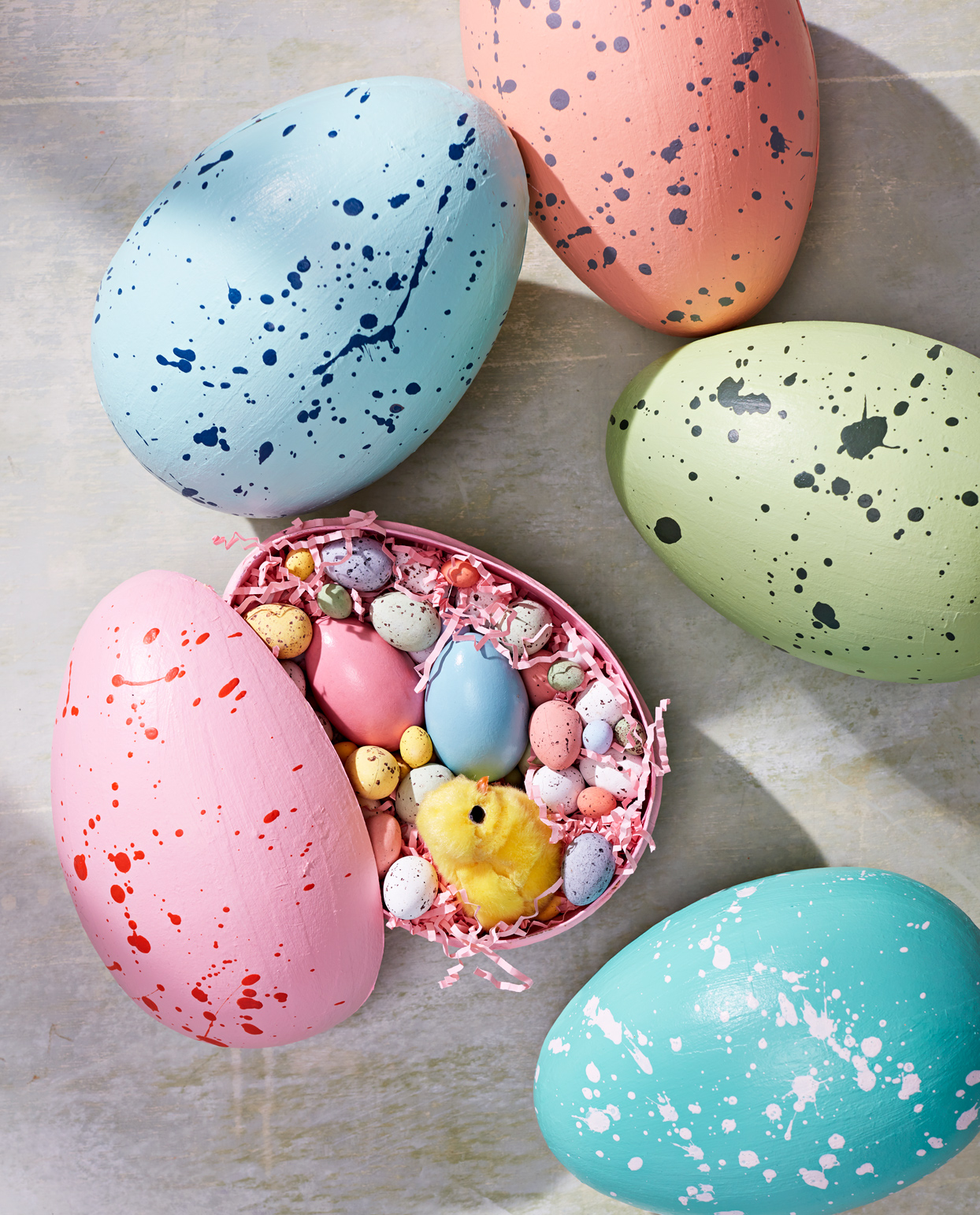 speckled easter egg shells with treats