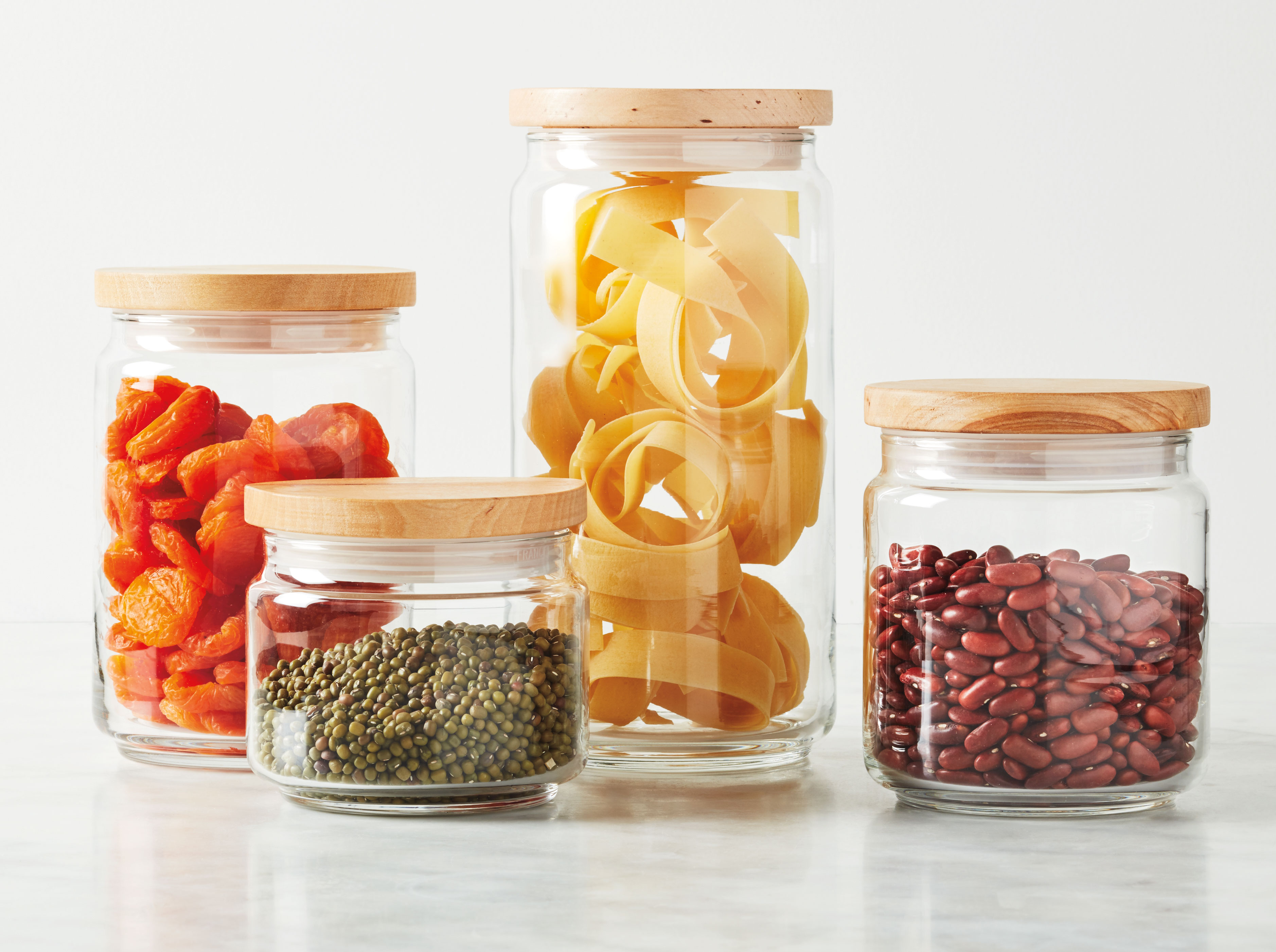 macys glass and wood food storage canisters