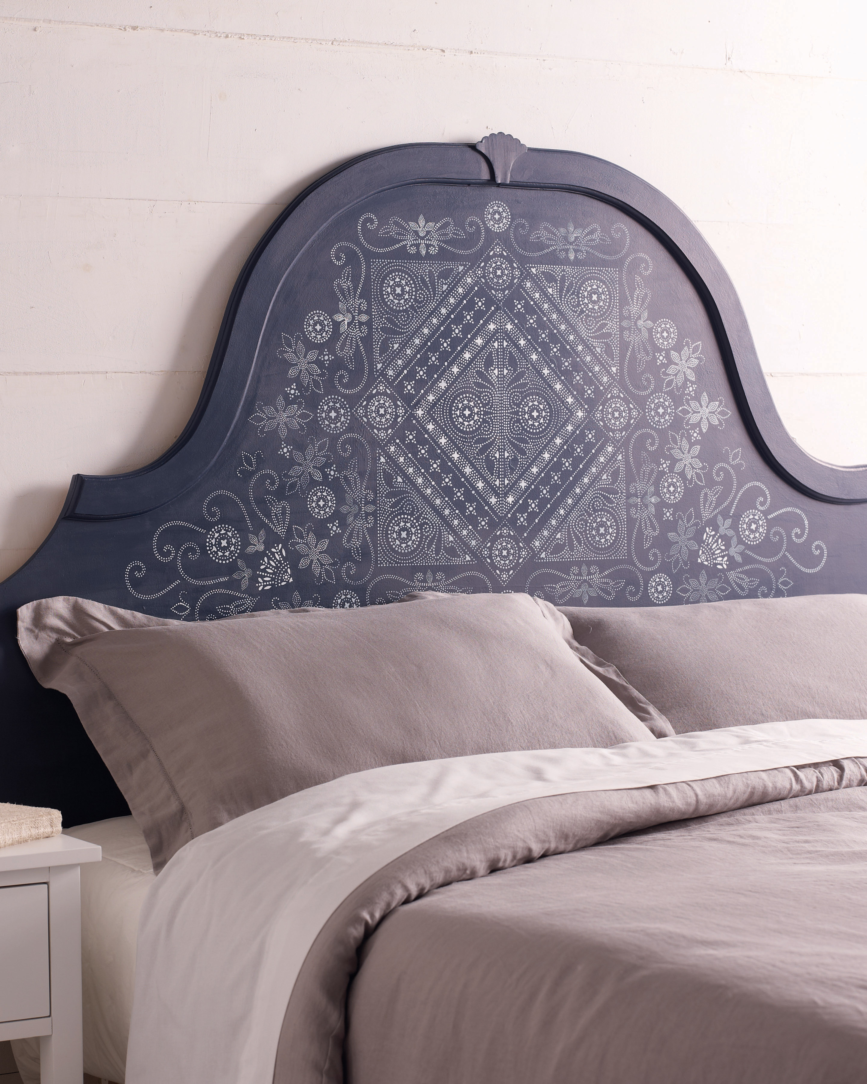Batik-Pattern Stenciled Headboard