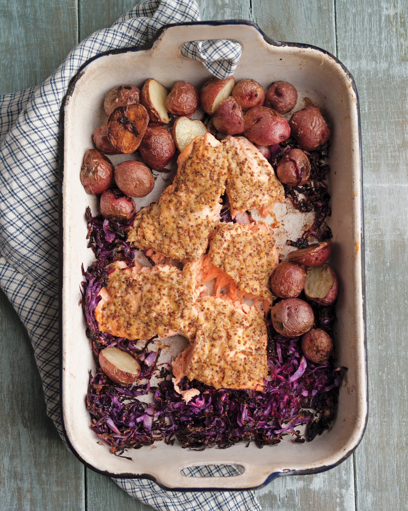 Salmon, Red Cabbage, and New Potatoes