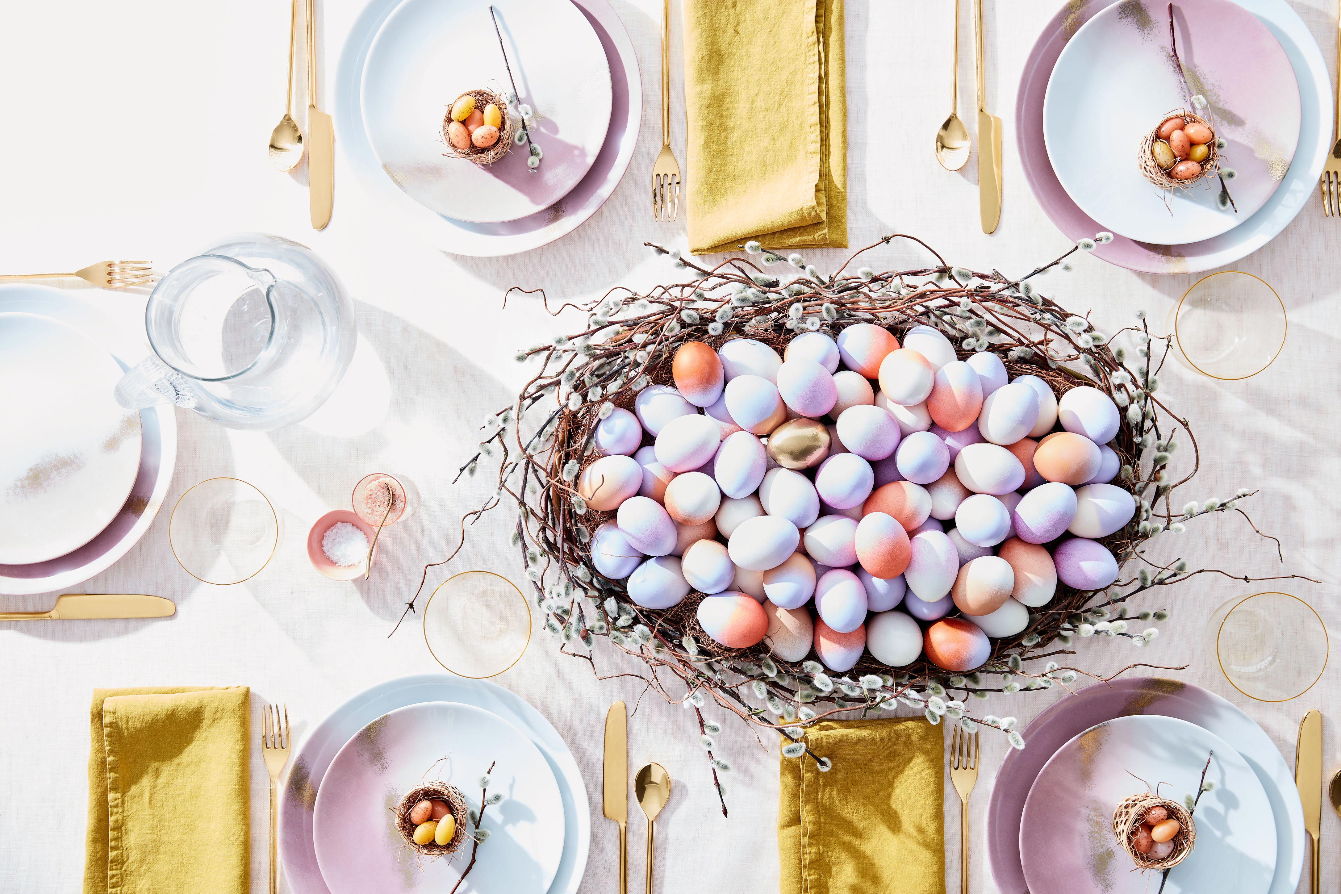painted egg centerpiece
